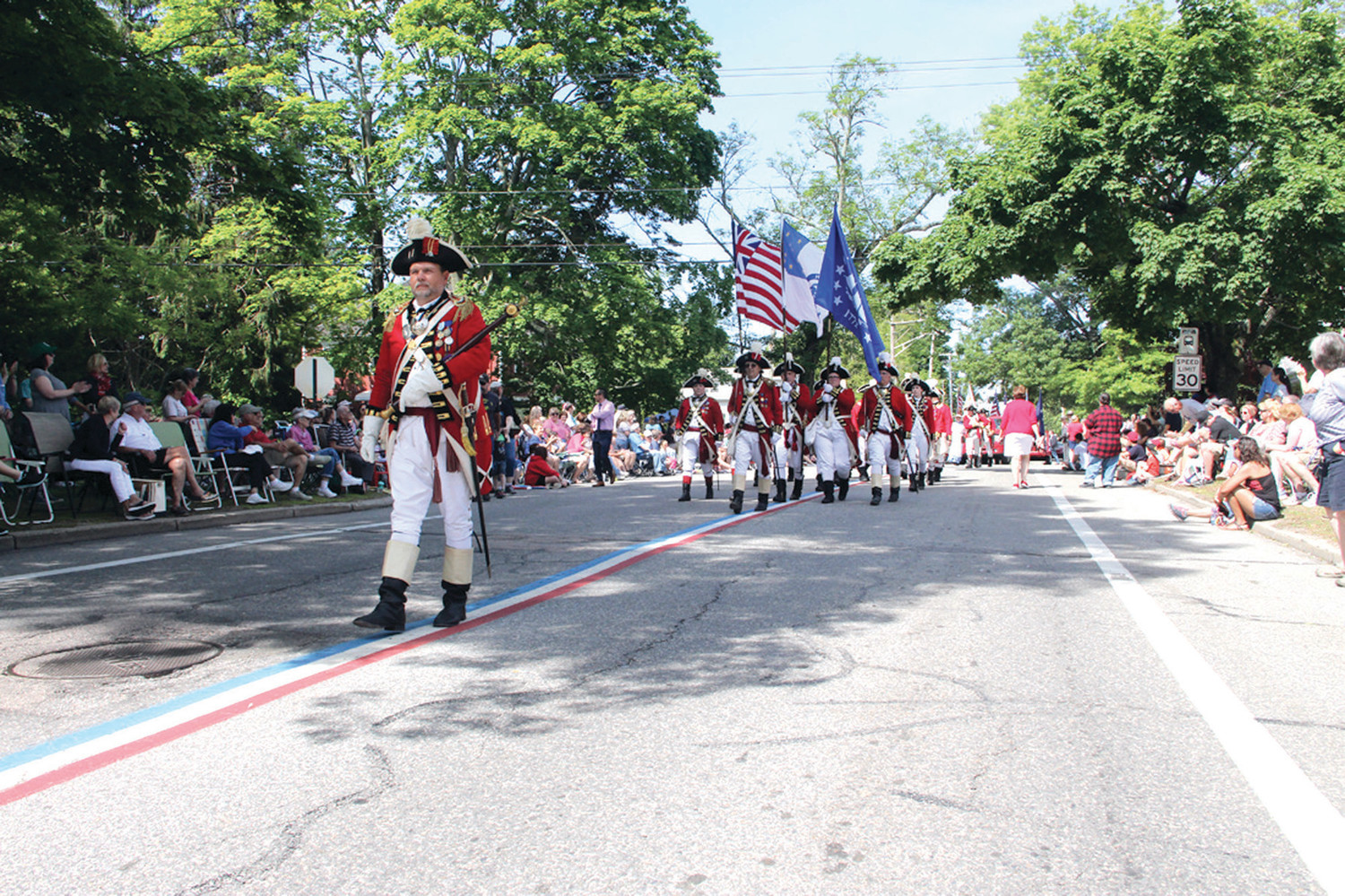 LEADING THE WAY: Col. Ron Barnes not only led the Pawtuxet Rangers but also carried the mace.