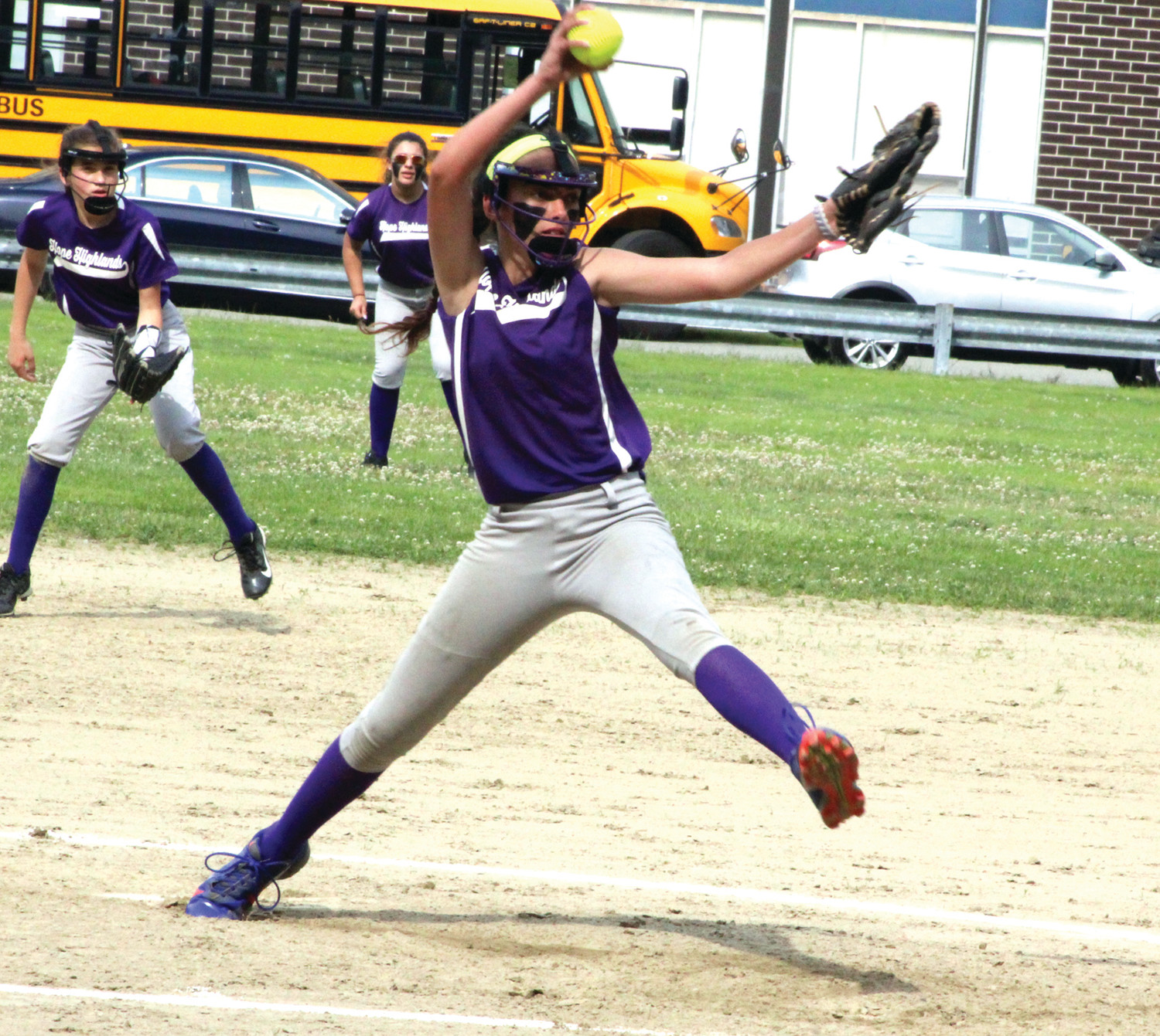 IN THE CIRCLE: Hope Highlands' Gabby Cunha delivers a pitch against Gallagher.