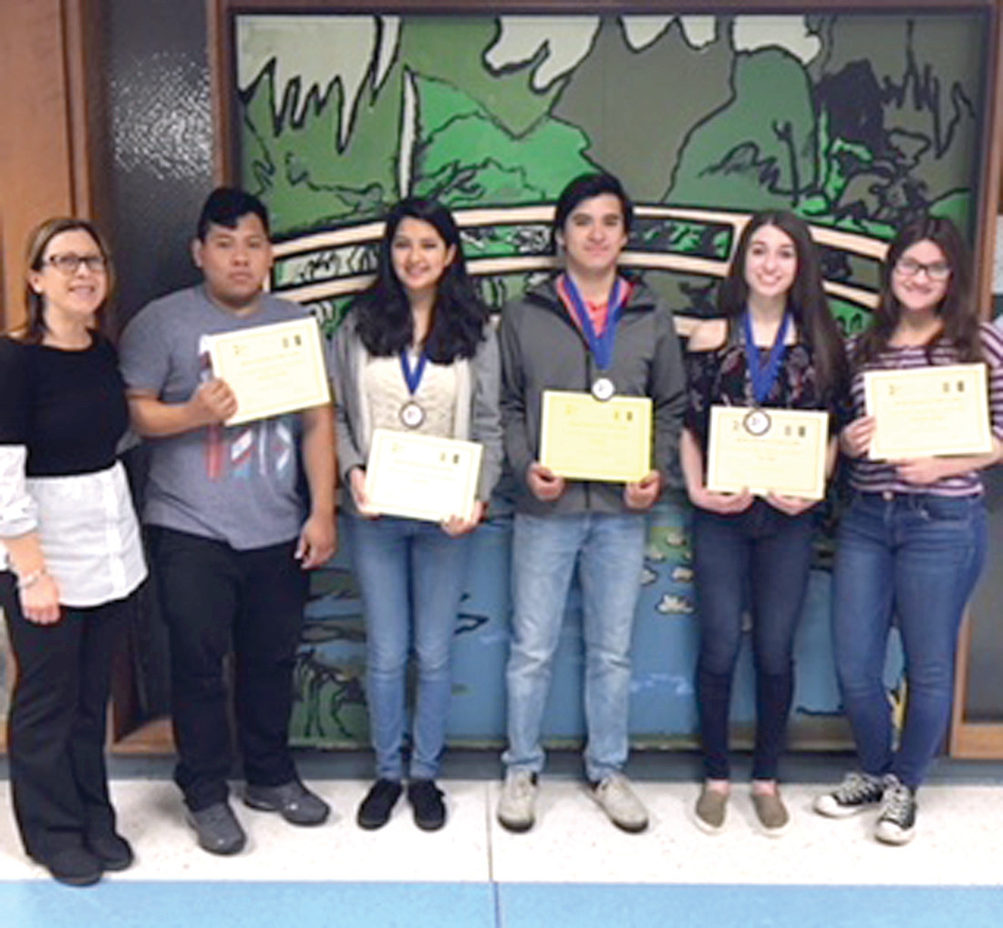 NATIONAL NICHE: JHS Italian teacher Emelia Ruggiero joins students Miguel Azanon, Sra Echeverria, Carlos Fragoso, Mia Ragosta and Stephanie McCoy brought honor and fame to Cherry Hill after winning top honors in the 2018 National Italian Examination. (Submitted photos)
