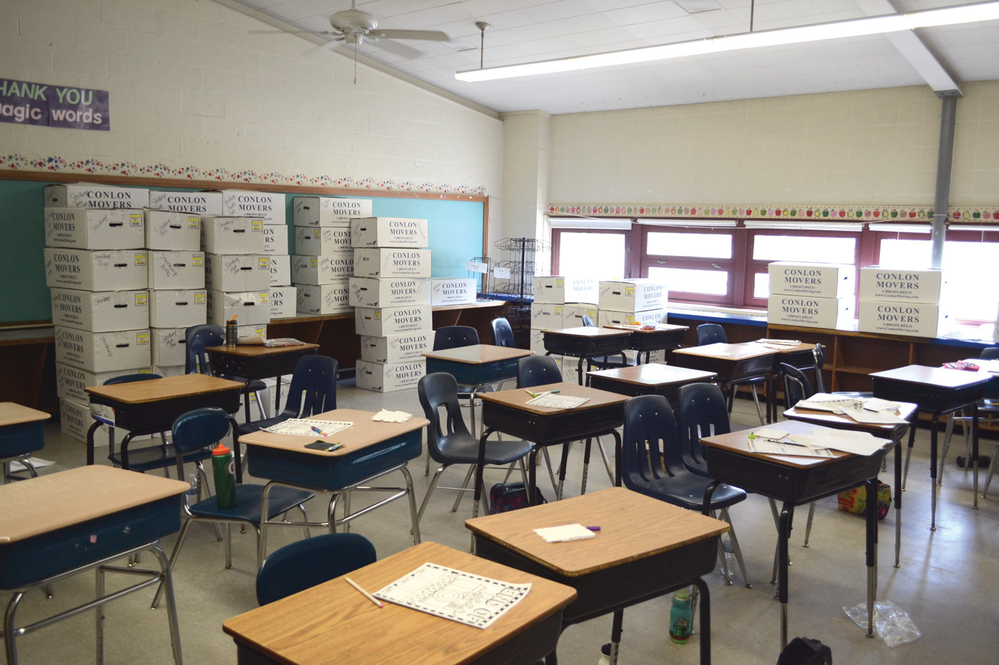 BOXING DAY: Boxes lined many classrooms and rooms throughout John Brown Francis on Wednesday during the last day of school.