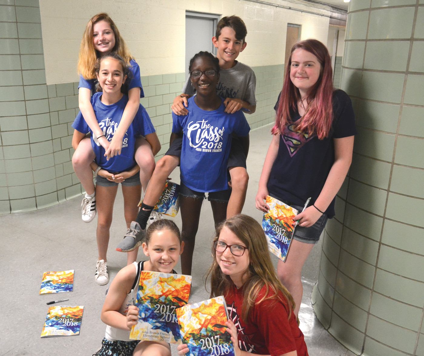 LAST DAY HOORAY! Sarah Rapa, Emilie Desper, Liam Budz, Dhany Beauvrun, Gabrielle Quimby, Charlotte Beaune and Nazalya Carvalho enjoyed wandering the halls during their last day of school at John Brown Francis.