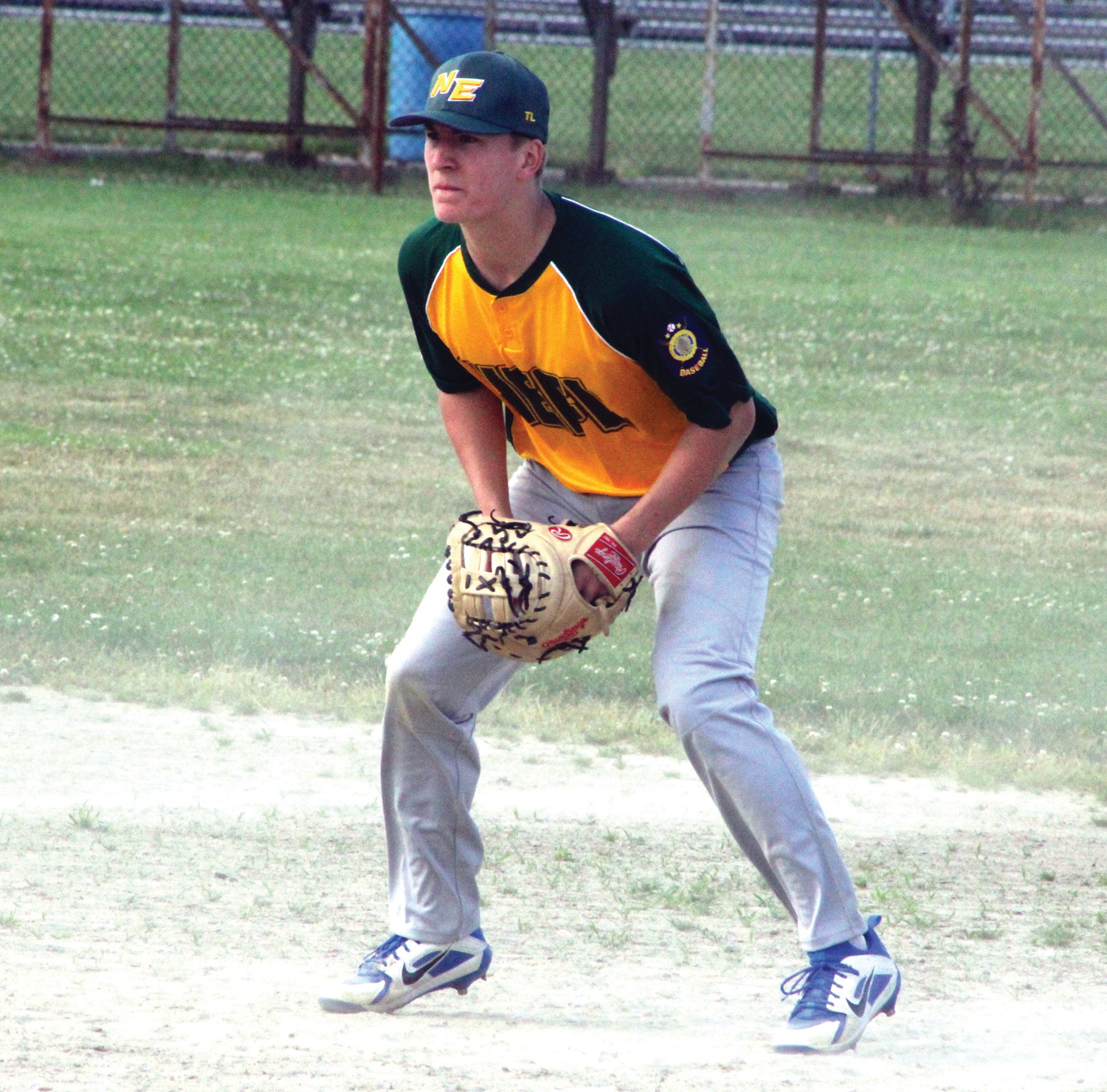 PLAYING THE FIELD: NEFL first baseman Caden Haley prepares to make a play in the field.