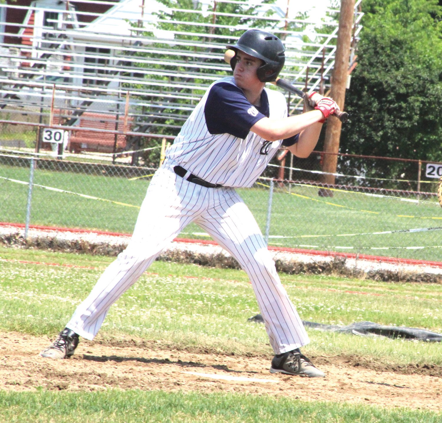 AT THE DISH: Warwick PAL's Will Pariseau at the plate against Cranston.