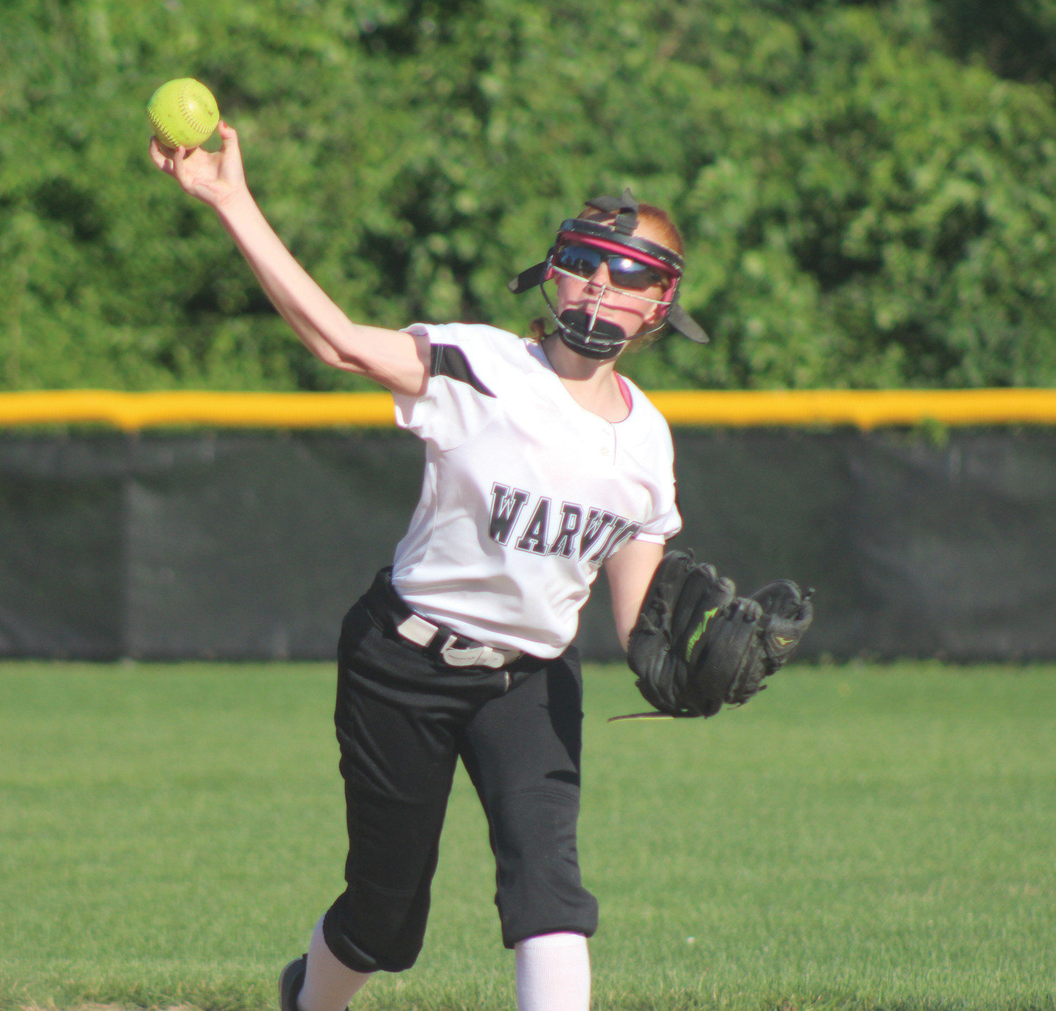 CHAMPIONSHIP   SOFTBALL: Warwick North's Emma Burr fires to first base against Coventry in the District 3 championship on Friday.