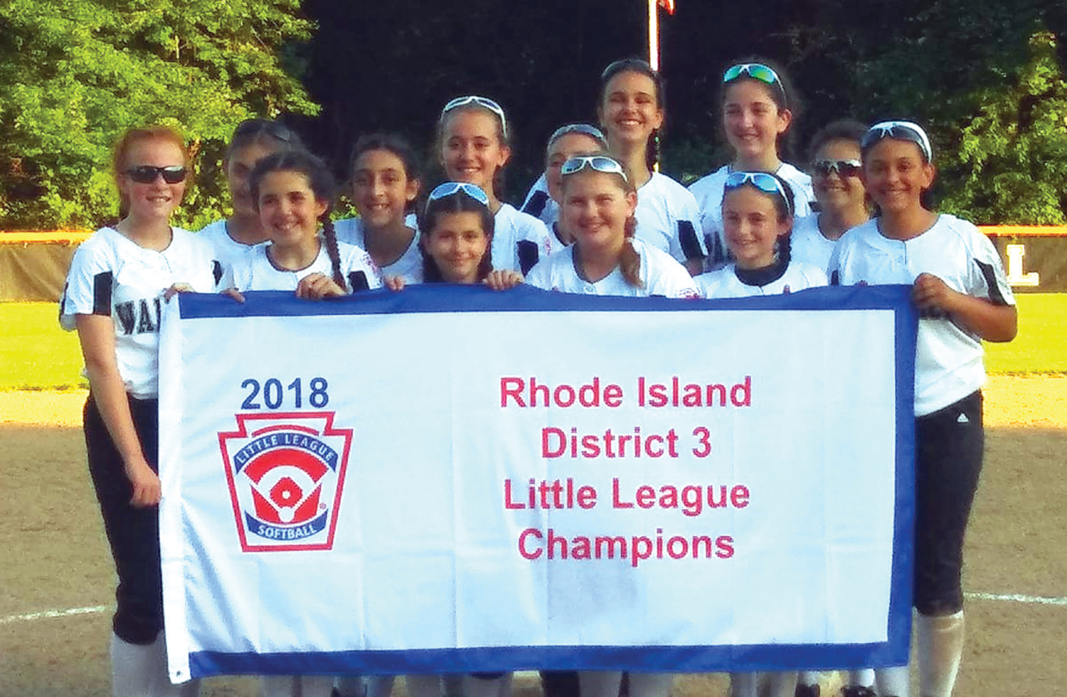 DISTRICT CHAMPS: The Warwick Little League North softball team after winning the District 3 Championship. Members include: Emma Burr, Genna D'Amato, Lily Dewar, Makayla Falco, Julia Krause, Jenna Lucia, Michelle Maron, Audra McDonnell, Alayna Medina, Katie Motta, Kiara Scanlon, Sophia Stogner and Izzy Sullivan.