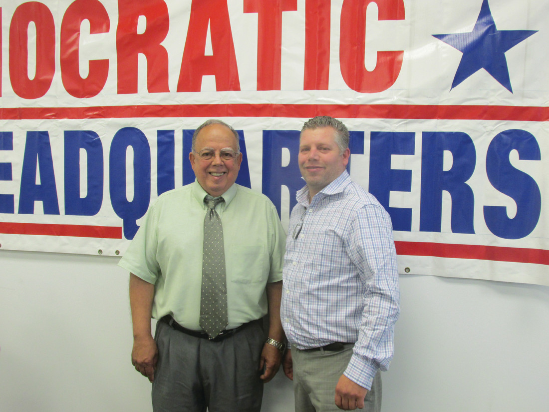 LIKE FATHER, LIKE SON: Veteran Johnston Town Councilman David Santilli (left) is joined by his son David Jr. who last week received the JDTC's endorsement and will make his first ever run for political office and the District 2 Town Council seat.