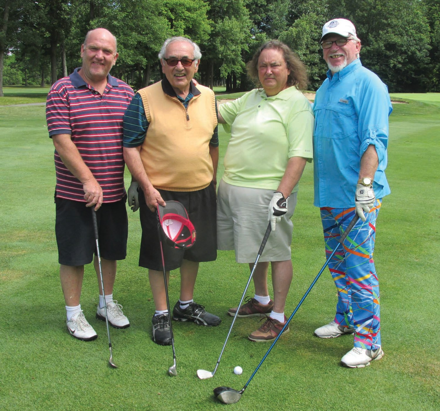 GRASSO'S GANG: Mark Rausio, Joe Grasso, Joe Piccardo and Sieve Wilcox made up this fun-loving foursome in the recent Out Lady of Grace Golf Tournament which was played at well-manicured Swansea Country Club.