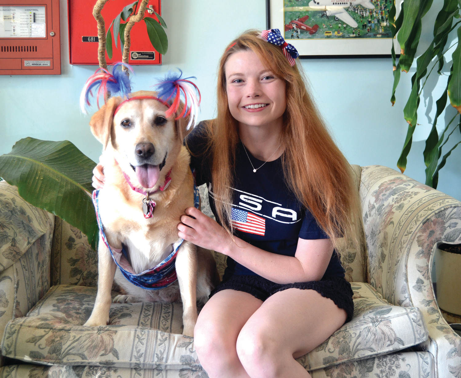DYNAMIC DUO: Sahara the dog and her owner, Jacqie Lyman, share a special bond; they both even got dressed up for the Fourth of July festivities together.