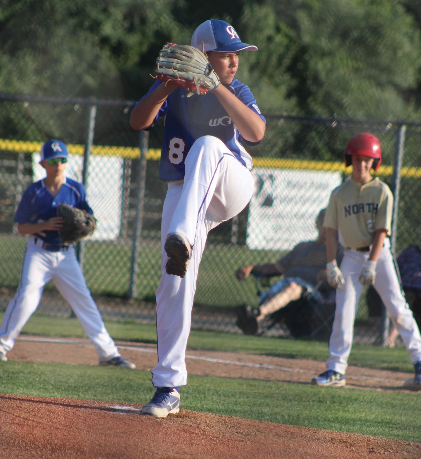 ON THE HILL: Warwick Continental pitcher Mason Broomfield delivers against NK/Wickford.