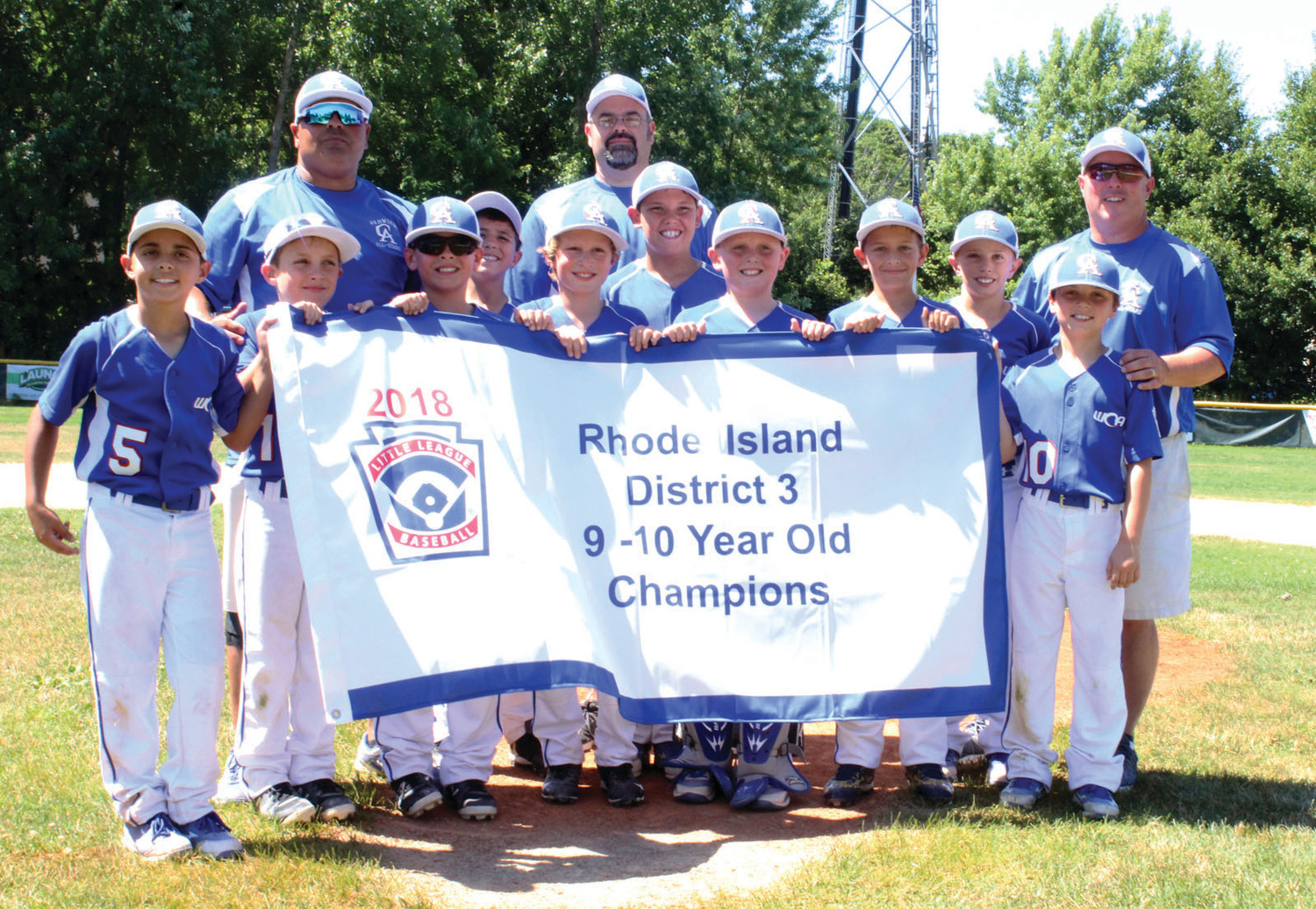 KINGS OF THE HILL: The Warwick Continental American Little League 9-10 year old All-Star team after winning the District 3 title on Saturday.