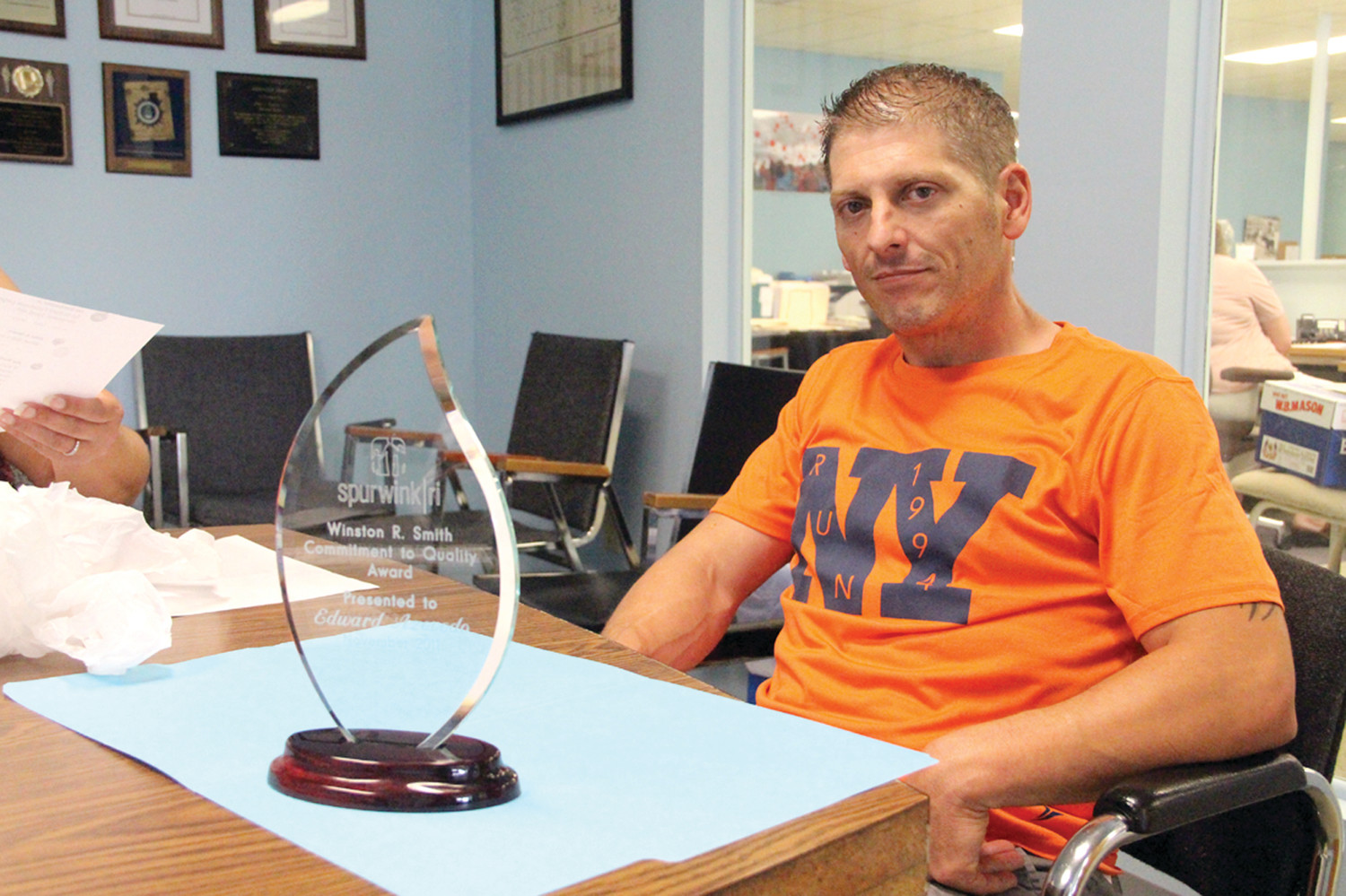 "ANGERED: Eddie Azevedo, owner of Eddie's Diner where the confrontation between him and John Sears happened, said he's angry with the ""slander"" he's been subject to online. He is pictured with the Spurwink/RI Winston R. Smith Commitment to Quality Award presented to him on Nov. 20, 2011."
