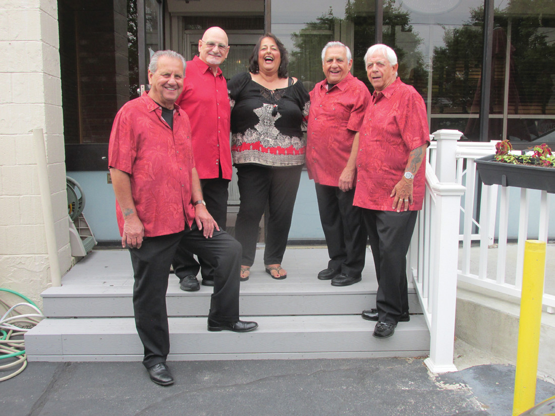TALENTED TROUPE: Classic Blend, formerly known as Flashbacks, put on a special performance that featured oldies music during the recent surprise party for Elly Palumbo. The group includes, from left: Peter Goneconte, Tom Falcone, Maria Russo, Jack Mento and Ron Iacobucci.