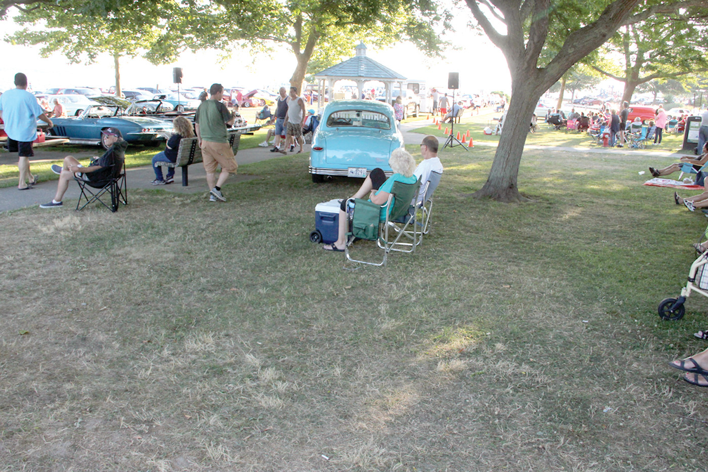 EVENING ENJOYMENT: Whether they bring a car or not, folks bring their lawn chairs and enjoy the cruise scene.