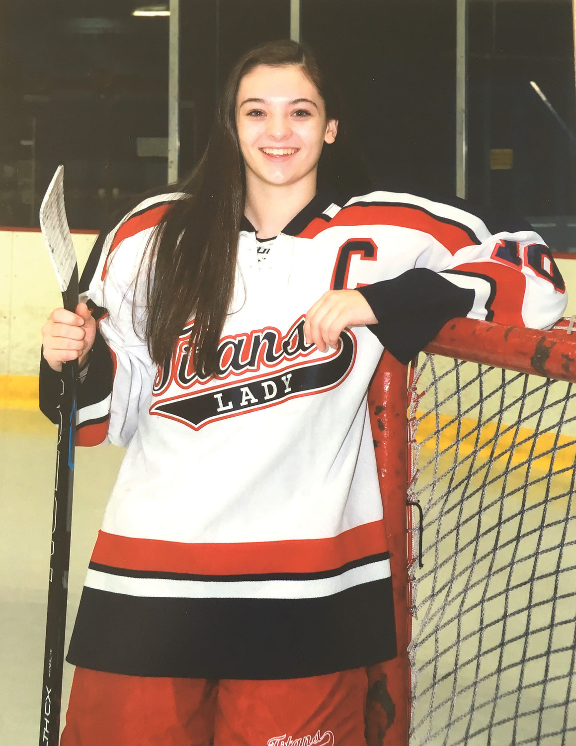 SUPER SHANNON: Warwick's Shannon McCammish stands beside a hockey goal yet she was selected for the RI Reds Heritage Society's Gil Mayer Award for her defensive prowess and untiring leadership and training skills that helped her teammates.
