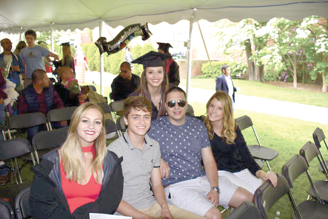 FAMILY IS THE BEST CROWN: L-R, Allie's sister Gabby, brother Michael, brother Justin and sister-in-law Jacqui all join in celebrating Coppa's graduation from Brown in May 2017.