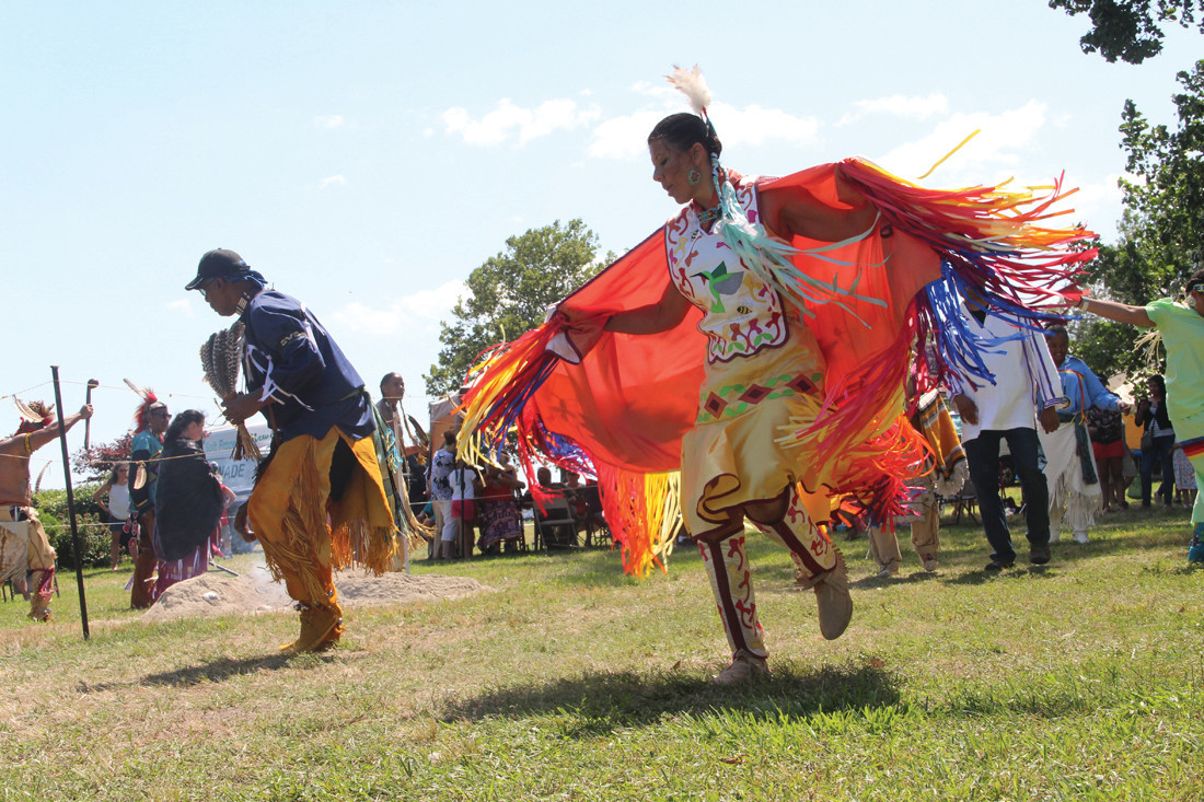 Honey Harris Collins dances at the powwow last year, the first time the event was held at Oakland Beach