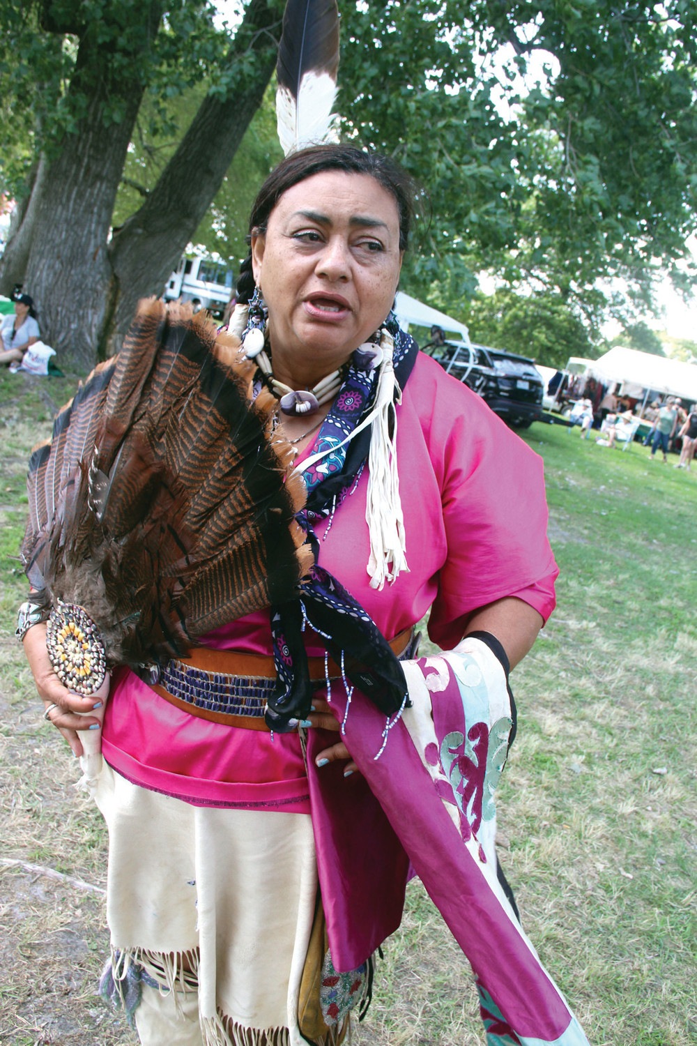"Deborah Spears Moorehead, author of ""Finding Balance: The Genealogy of Massasoit's People and the Oral and Written History of the Seaconke Pokanoket Wampanoag Tribal Nation,"" sets up shot annually at the powwow."