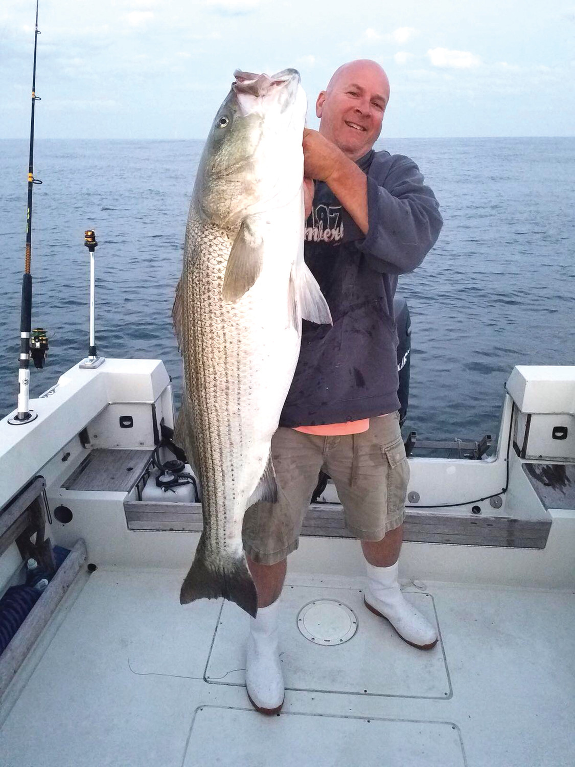 Dave Henault of Ocean State Tackle said customer Doug Marcotte (shown in photo) caught this 53 pound striped bass at Block Island using live eels earlier this week.
