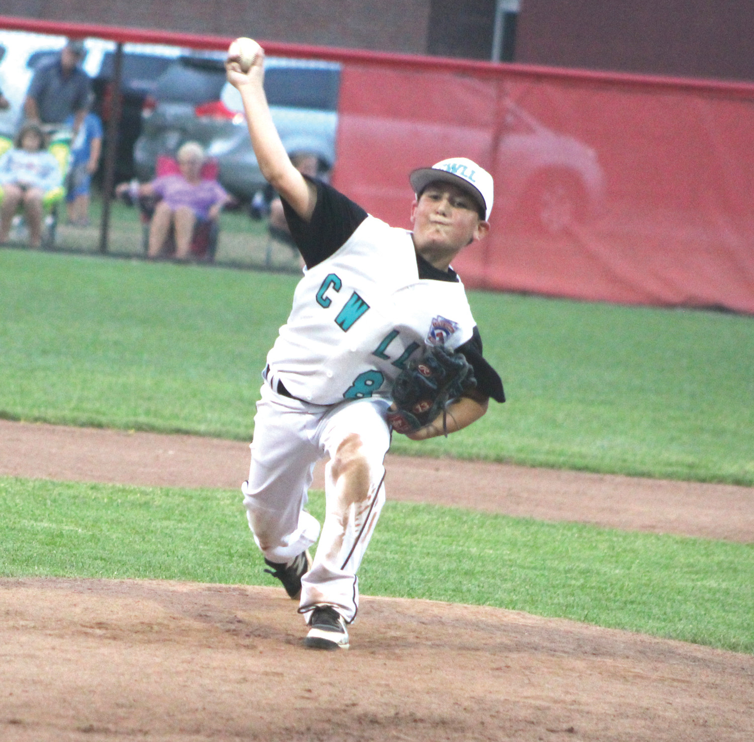 Cranston Western's Brendan DiNezza pitches in relief on Monday.