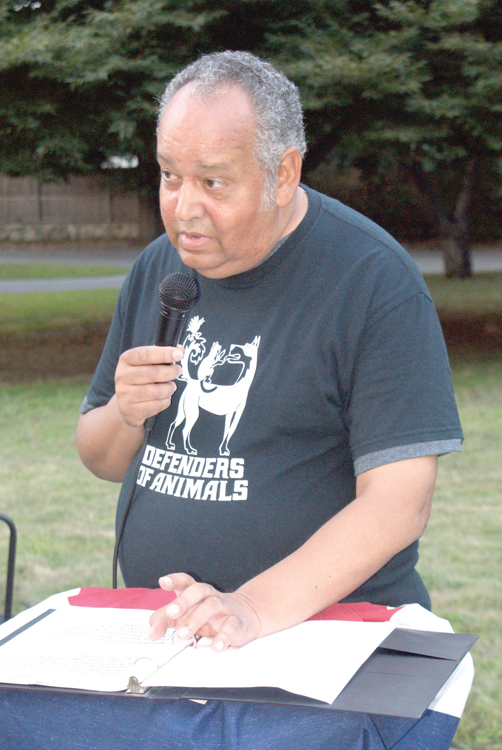 ON BEHALF OF THE ANIMALS: Dennis Tabella, founder and director of Defenders of Animals, has announced that this year's 22nd annual Homeless Animals Day/Candlelight Vigil/Awards ceremony will be held at the Governor Sprague Mansion in Cranston on Saturday, August 18, from 7 to 9 p.m.