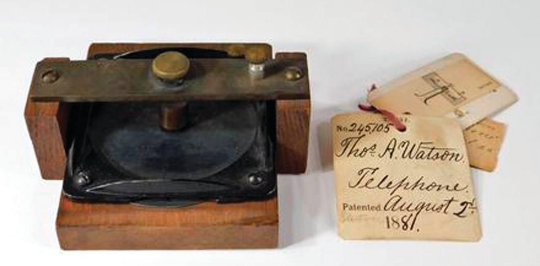 TOP SELLING ITEM: The top selling item at $32,000 at the Bruneau and Co. auction house in Cranston was an original model of Alexander Graham Bell's and Thomas A. Watson's first telephone. Accompanied with original patent paperwork dated 1881.