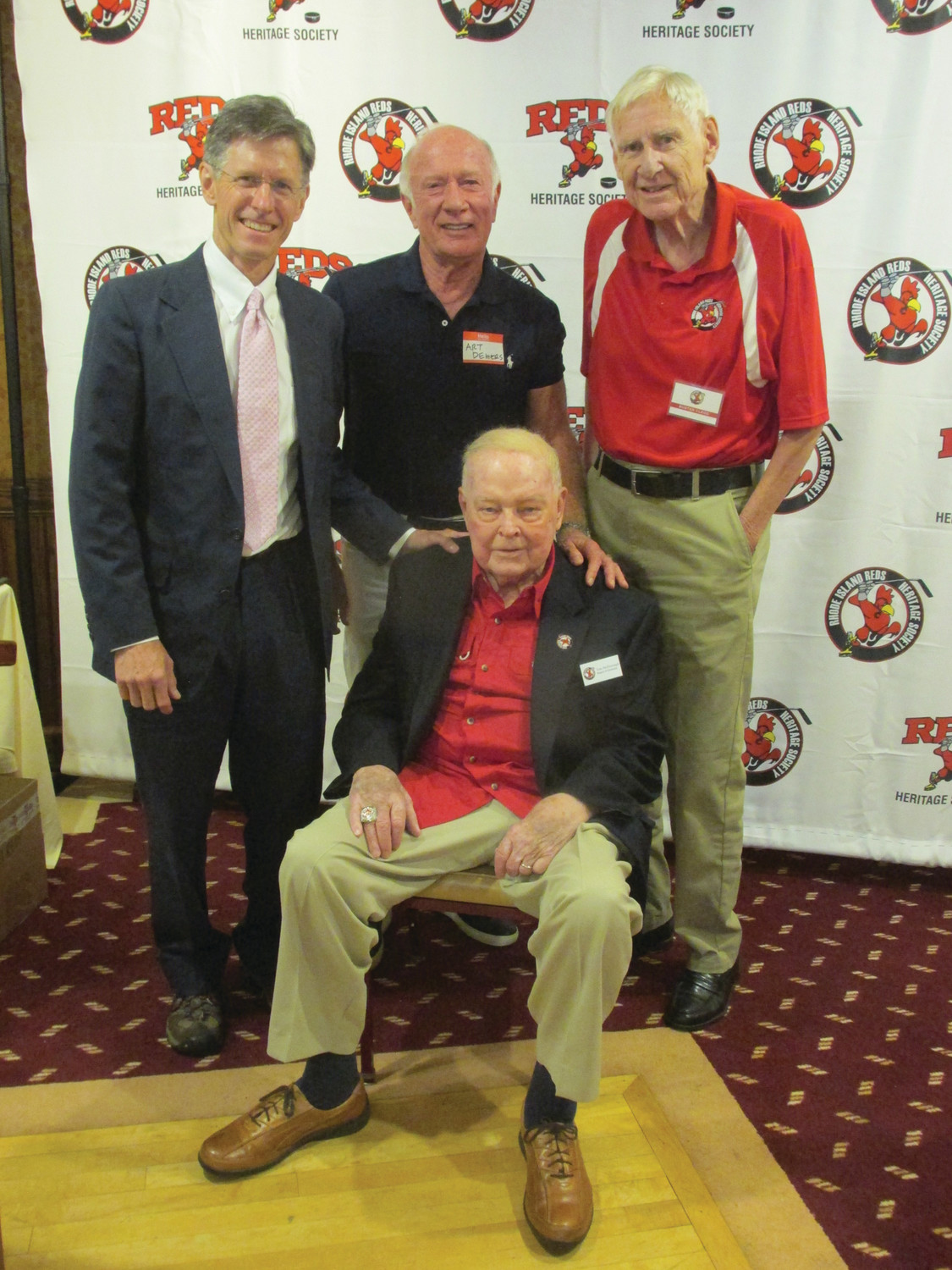 "PREXY'S PALS: Sylvester ""Buster"" Clegg, long-serving president of the Reds Heritage Society, is joined by award-wining Boston Bruins broadcaster Jack Edwards (left) and Arthur Demers and Tom McDonough (seated), the non-profits famous emcee-vocalist at Saturday's dinner dance."