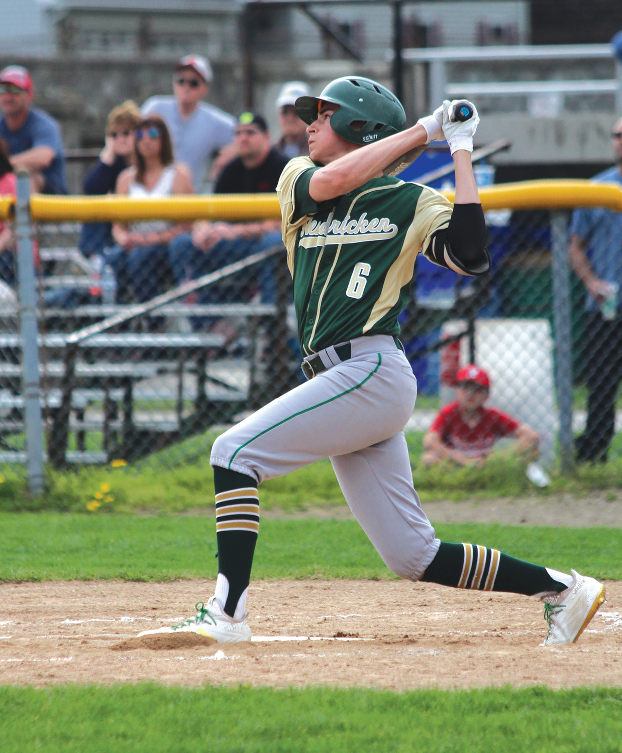 TO THE NEXT LEVEL: Bishop Hendricken's Kevin Gower hits during the 2018 season.