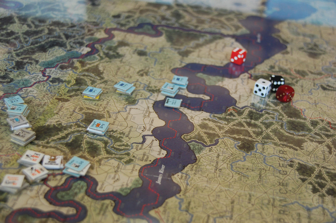 HAND-PAINTED MAPS: The maps for these wargames are accurate to the time and place of the battle, in this case 1860s Virginia, and the originals are done by artists. Each hex in the game is equivalent to about one mile.