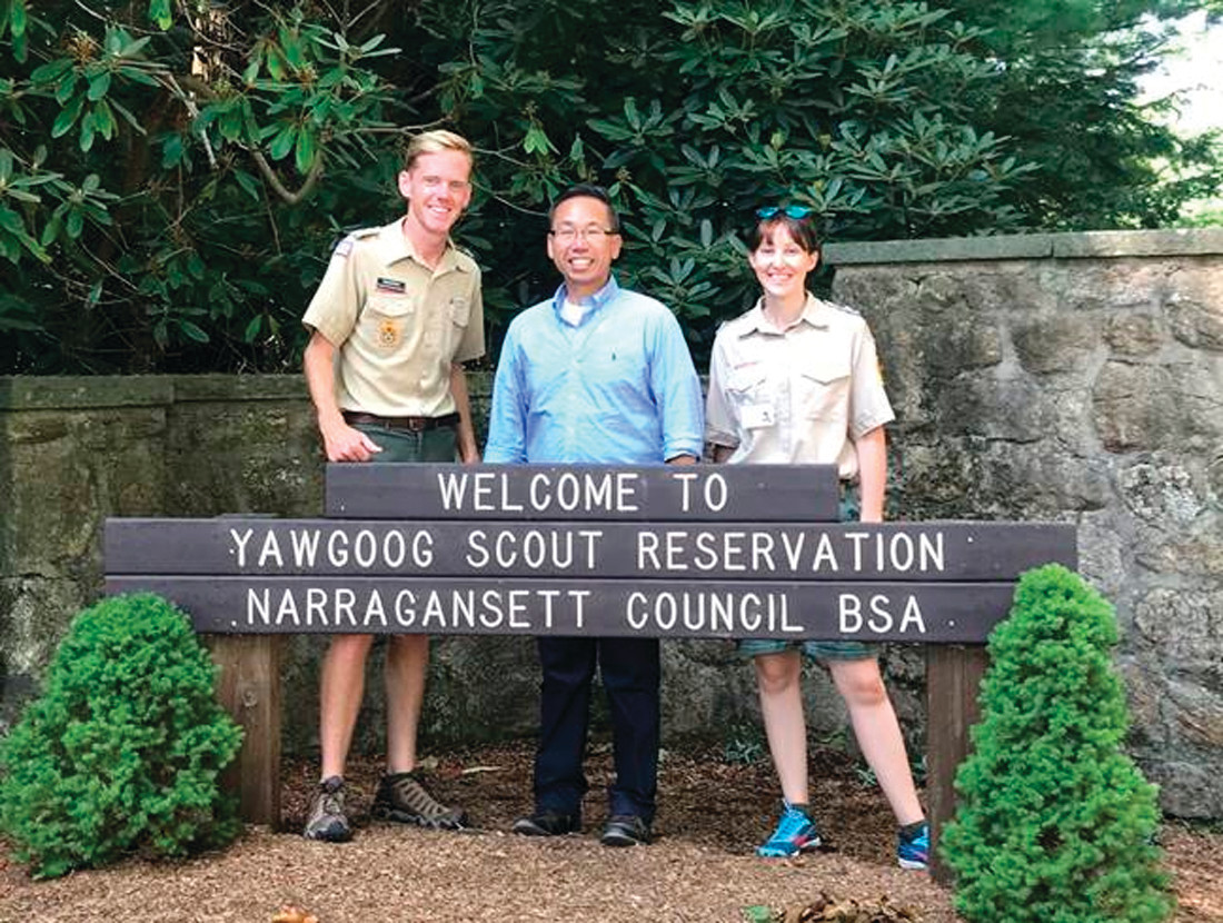 YAWGOOG: Dan Friel, Program and Communications Director, Narragansett Council, Boy Scouts of America and Assistant Director, Yawgoog Scout Reservation, Mayor Allan Fung, Tiffany Baumgardner Scheffler, COO, Director of Field Services, Narragansett Council, Boy Scouts of America.