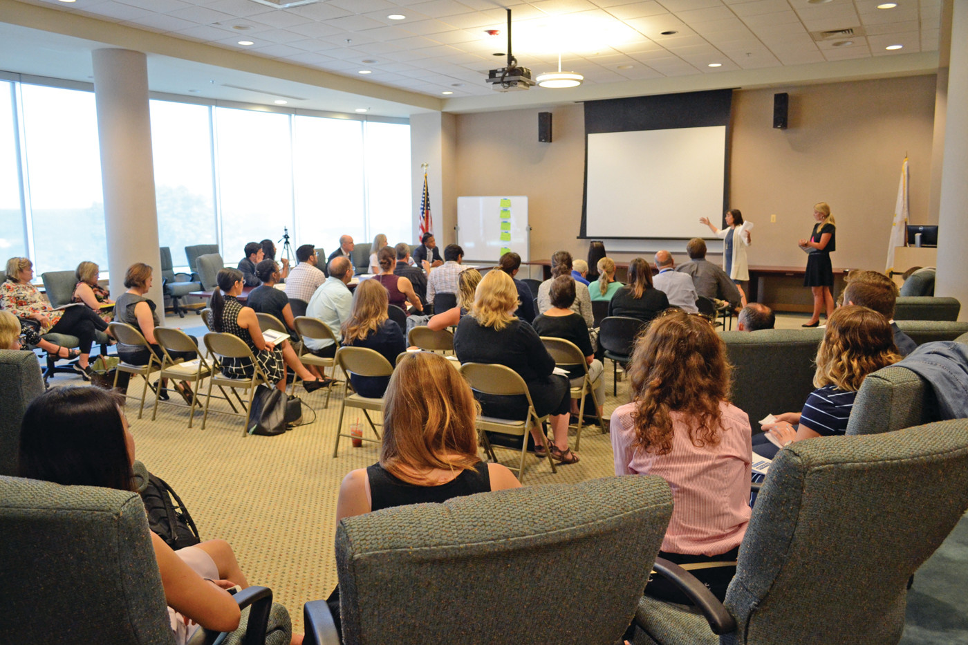 LIVELY ROOM: The 4th floor board room at CCRI's Knight Campus in Warwick was the host for the competitive Pitch Fest from the Rhode Island Department of Education (RIDE).