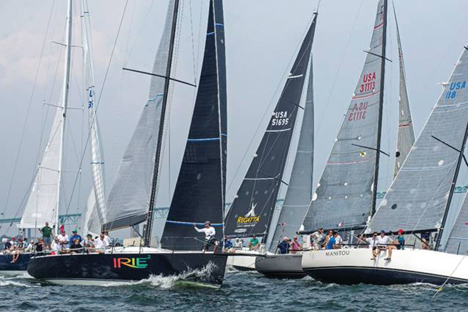 ALL ABOARD: Twenty seven boats from PHRF A and B started on the same line at the 2018 Ida Lewis Distance Race. Irie 2 was squeezed out but won PHRF A and PHRF overall.