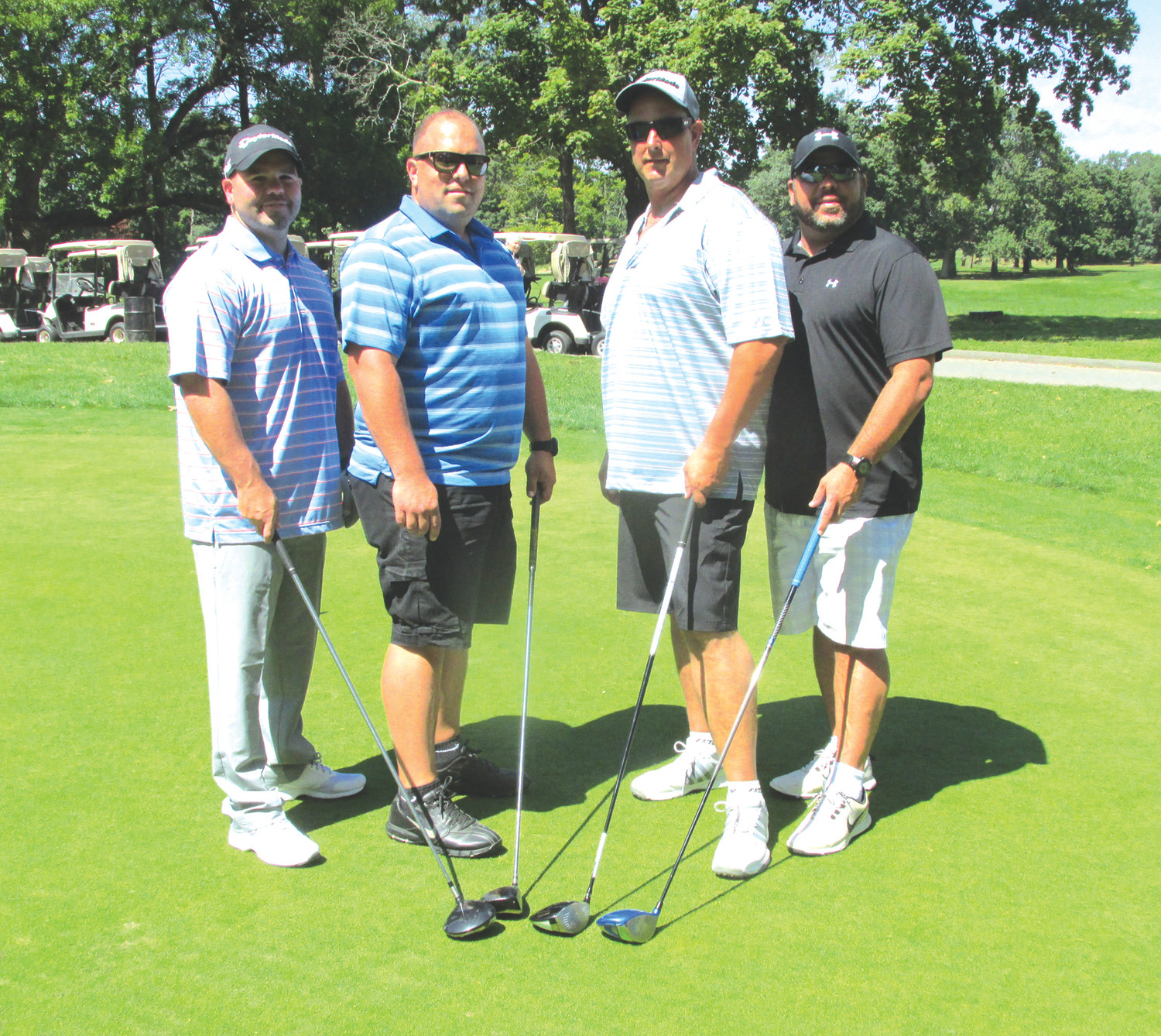 AWESOME ALUMS: Among those JHS alums that turned out for Sunday's Panther Gridiron Club Golf Tourney are, from left: Joe Desmarias, '00; Matt Volpi, Jim Picchi, '91; and Ray Desmarais, '91.