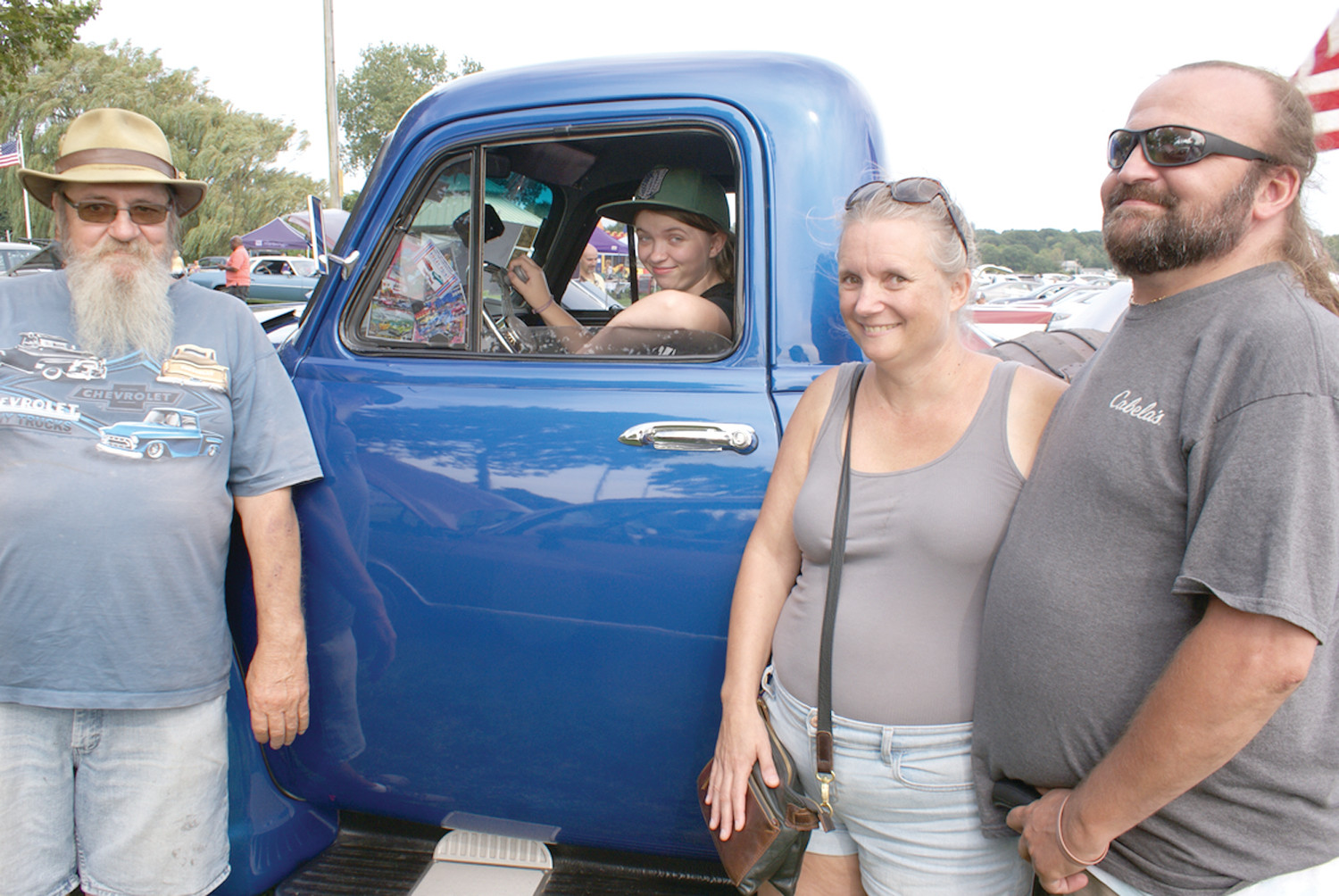 A CLASSIC: Owning the 1954 Chevy Thriftmaster (Limited Edition) is George Pennington, who is pictured with guests from Western MA with Kayleigh Aucoin and her mother Sibyl Johnson and George Hardy.