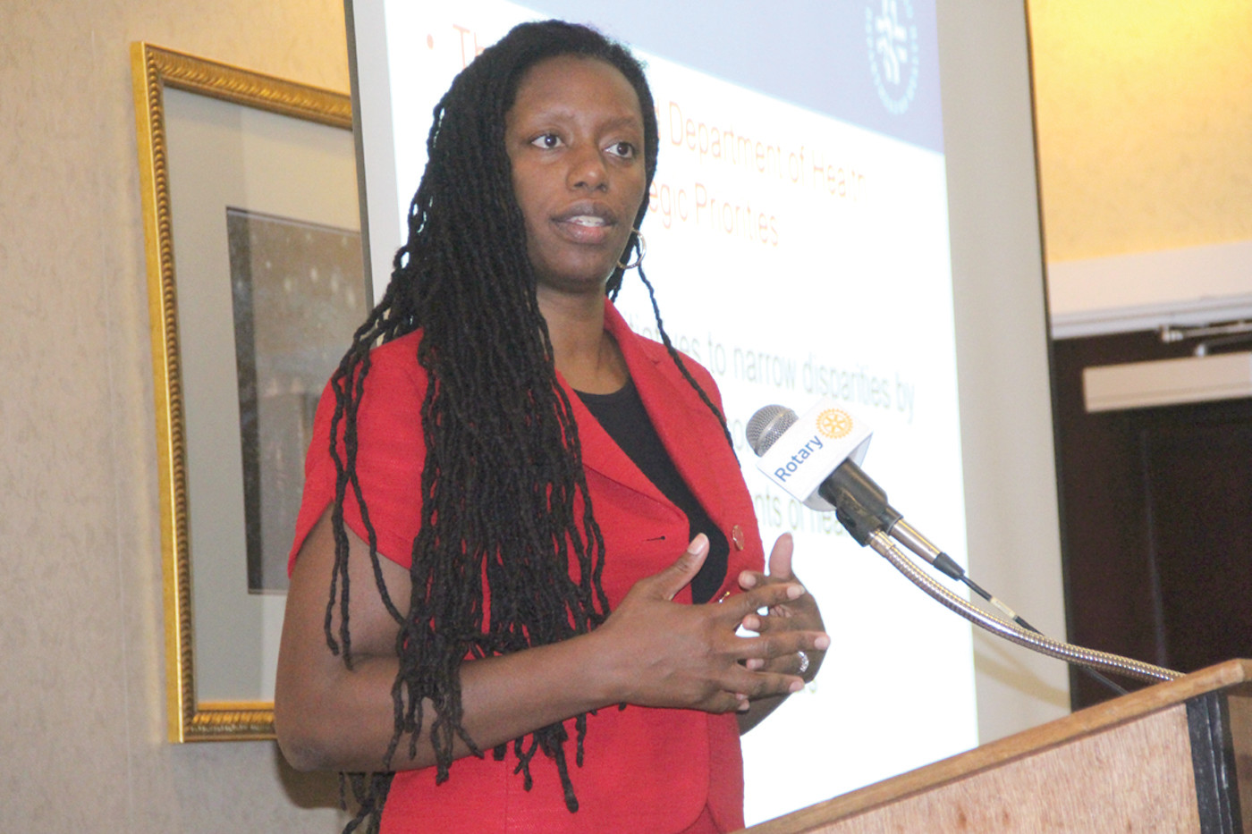 DOC IS IN: Dr. Nicole Alexander-Scott at last Thursday's meeting of the Warwick Rotary Club.