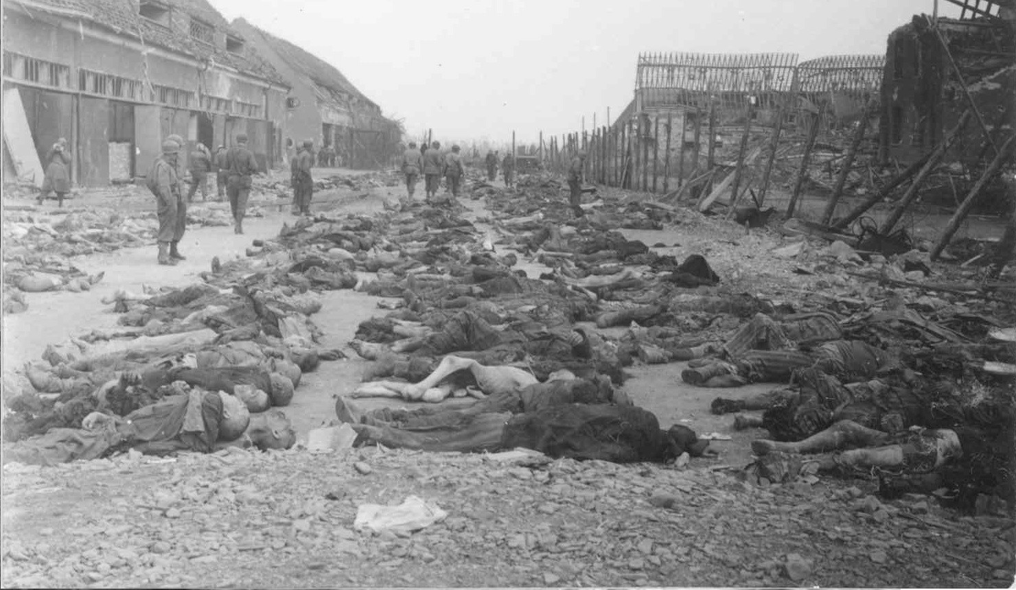 One of the five photos removed from the photo album depicts rows of deceased prisoners found at a liberated Nazi concentration camp. It is not known exactly which camp is shown, but chronologically following photos taken by Hayes indicate that it was in Germany.