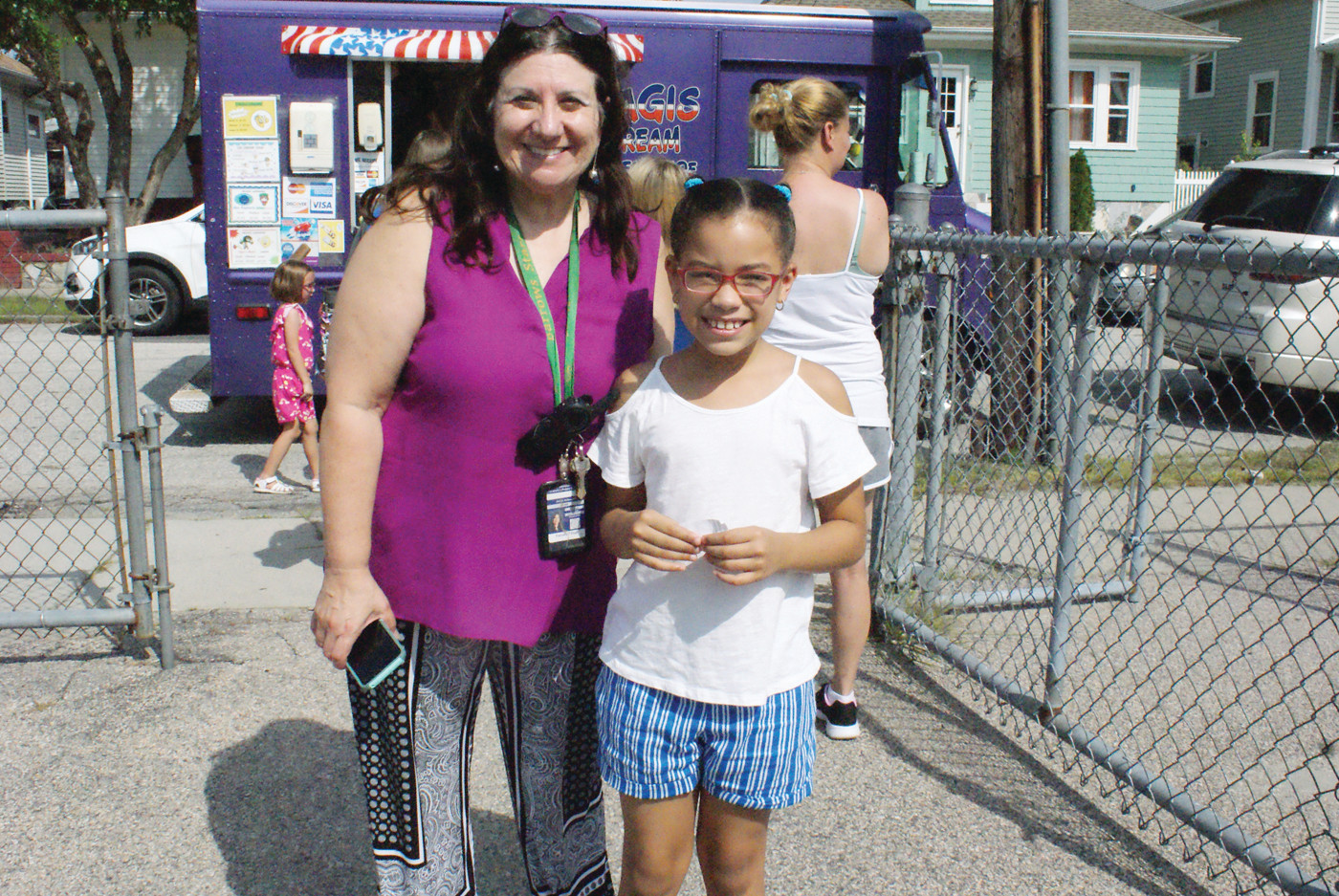A WARM WELCOME: Chester Barrows Elementary School Principal, Janet Antonelli, welcomed incoming third grader, Briana Fondeur at their Aug. 28 Meet & Greet.