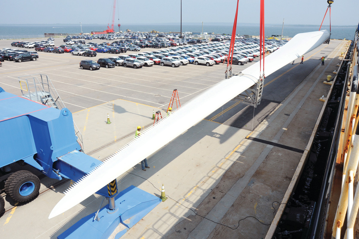 FRESH OFF THE BOAT: Blades for the seven wind turbines to be erected in Johnston are delivered to the Port of Davisville. The blades are serrated to reduce noise.