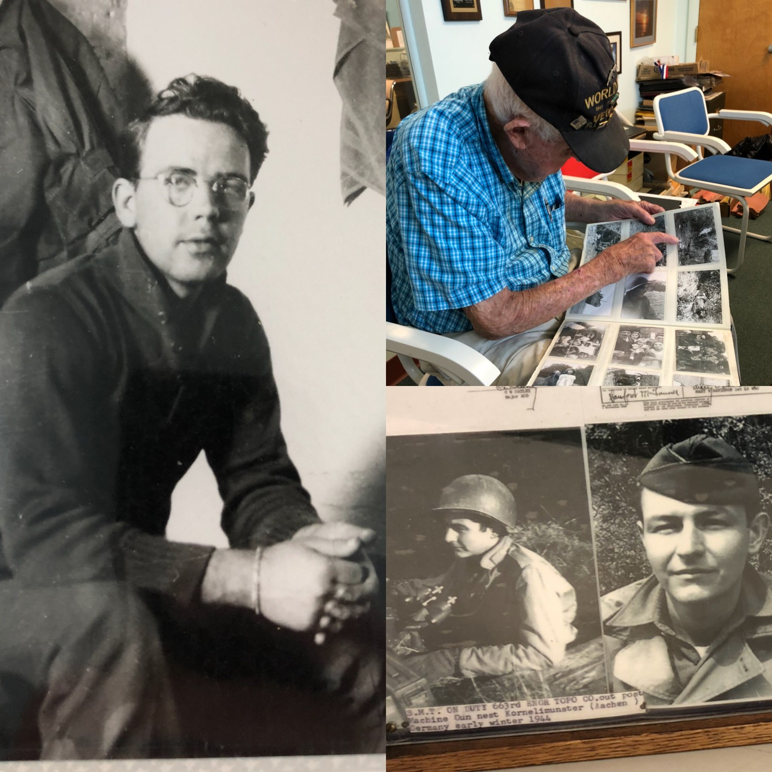 Clockwise: Edward Hayes Jr., who was profiled in a piece at the end of August by Pilgrim High senior Marcus Prezioso (his great-grandfather); Sanford M. Tanner, 97 years old, showing photos he took while deployed with Hayes during World War II; Sanford Tanner at the time of the war, around 22 years of age.