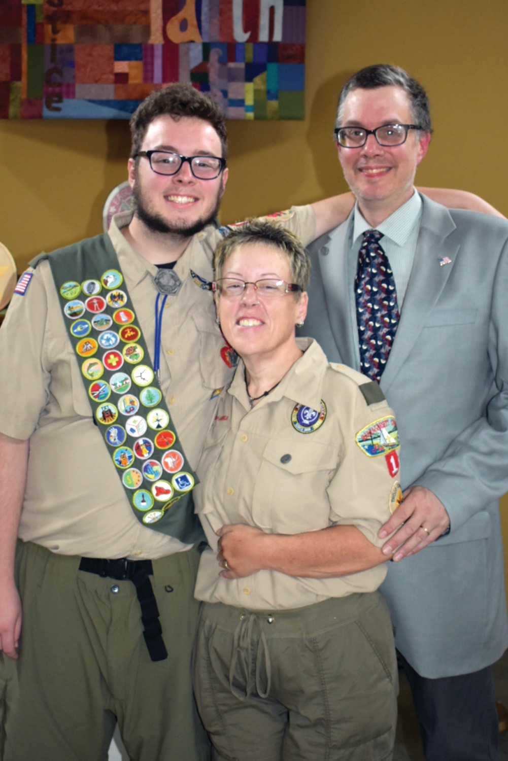 EAGLE AND HIS FAMILY: Eagle Scout Russell David Gundlach and his parents, Russell Jr. and Karen, at Sunday's ceremony.