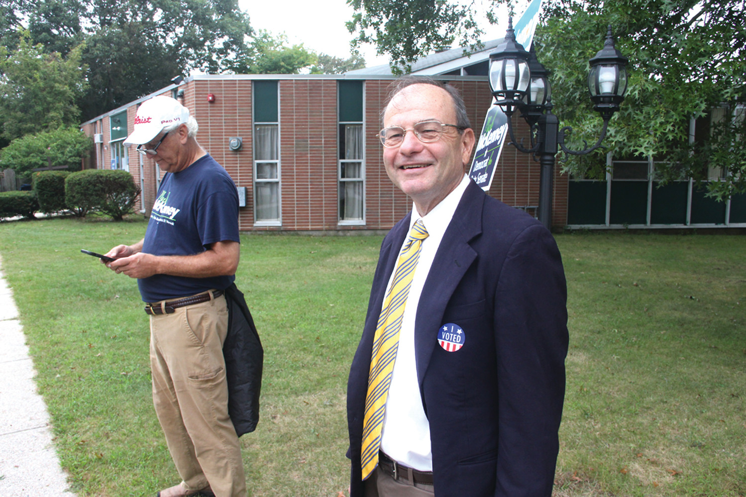 GREETING VOTERS: Mayoral candidate Gerald Carbone was found outside the Warwick Neck poll at Christian Heritage Church saying good morning to voters.