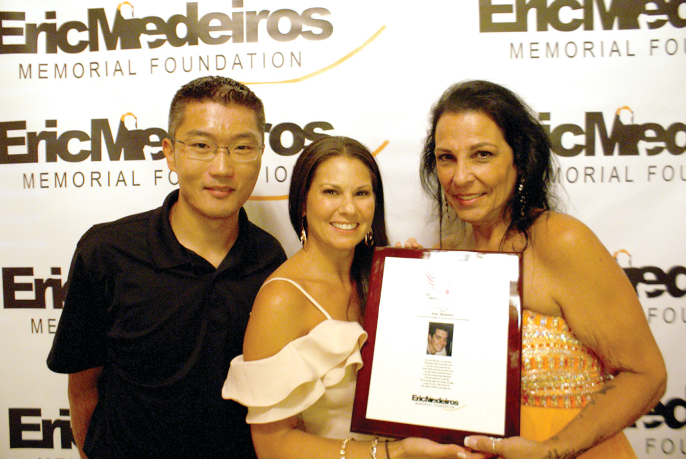 SPECIAL PRESENTATION: The Emcee of the Eric Medeiros Memorial Foundation Gala, Ally Genovese (former Mrs. CT America and President of the Ally G Everyday Angels Foundation) along with Matthew Van Ness (VP of Ally G Everyday Angels Foundation) presented Anna Casador with a plaque thanking her for her and the Eric Medeiros Memorial Foundation's support.
