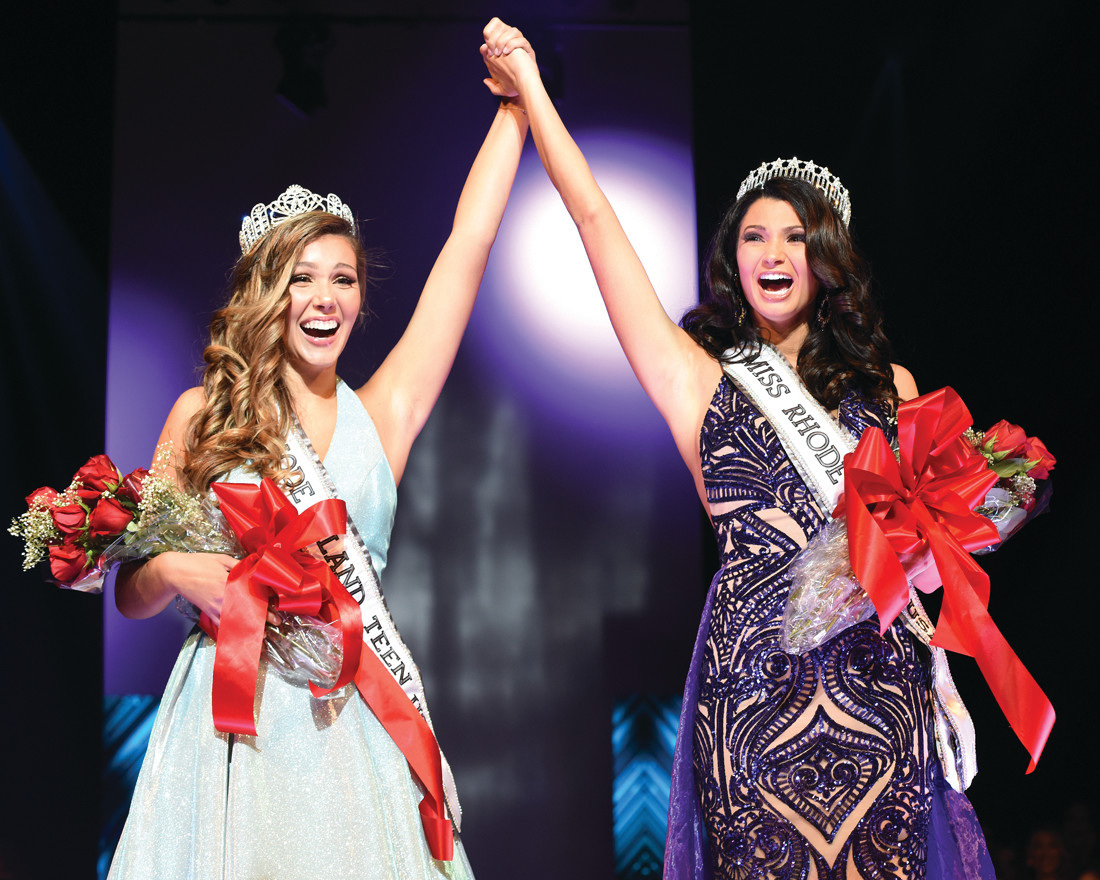 WINNERS: Olivia Volpe raises her hand high after winning Miss Teen RI. The winner of Miss Rhode Island 2019, next to Volpe in the photo, is Nicole Palozzi of Providence.