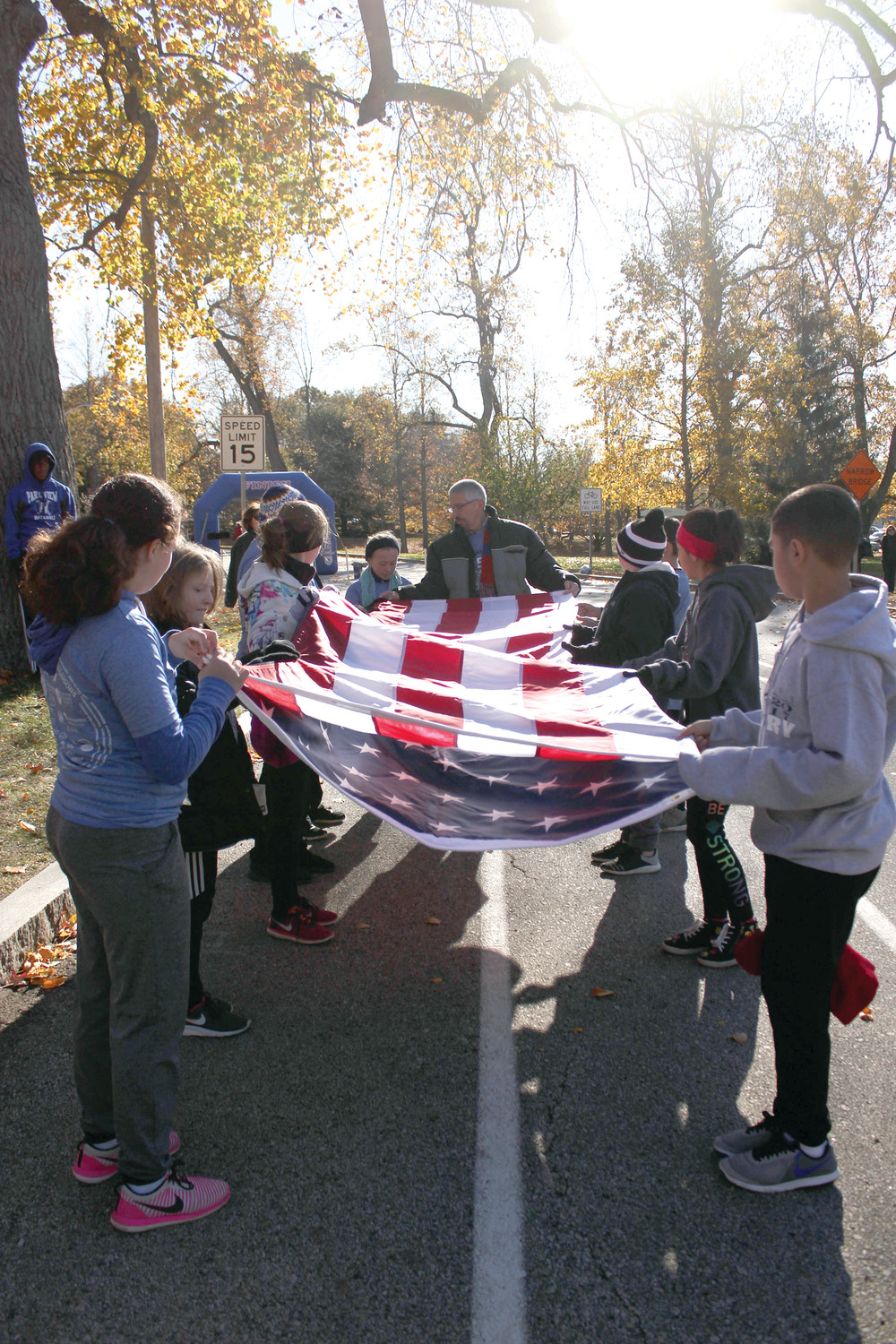 HONORING THOSE WHO HAVE SERVED: A flag ceremony took place at last year's 2017 Park View Middle School 5K road race, honoring veterans on the Veteran's Day holiday. All proceeds from this year's 2018 race will benefit the PVMS programming and Operation Stand Down, a local veterans' organization (osdri.org/).