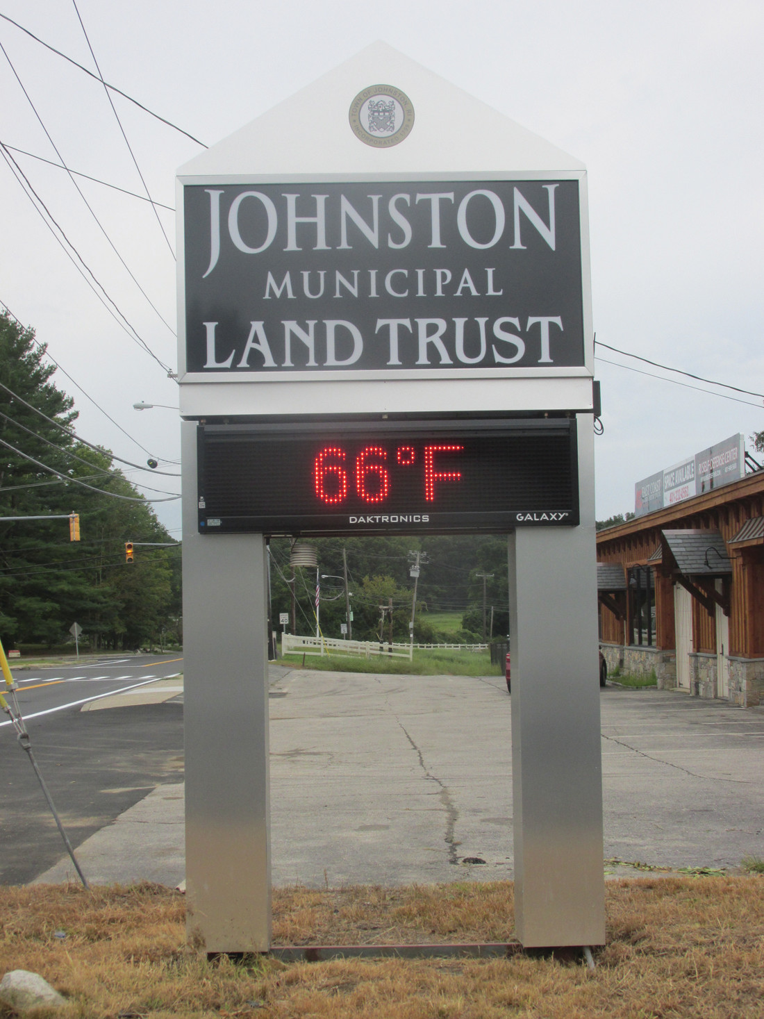 SUPER SIGN: The new Johnston Land Trust, which is located inside the old Belknap School on Greenville Avenue, even has a special sign and message board that can be use for various meetings housed in the refurbished 125-year-old structure.