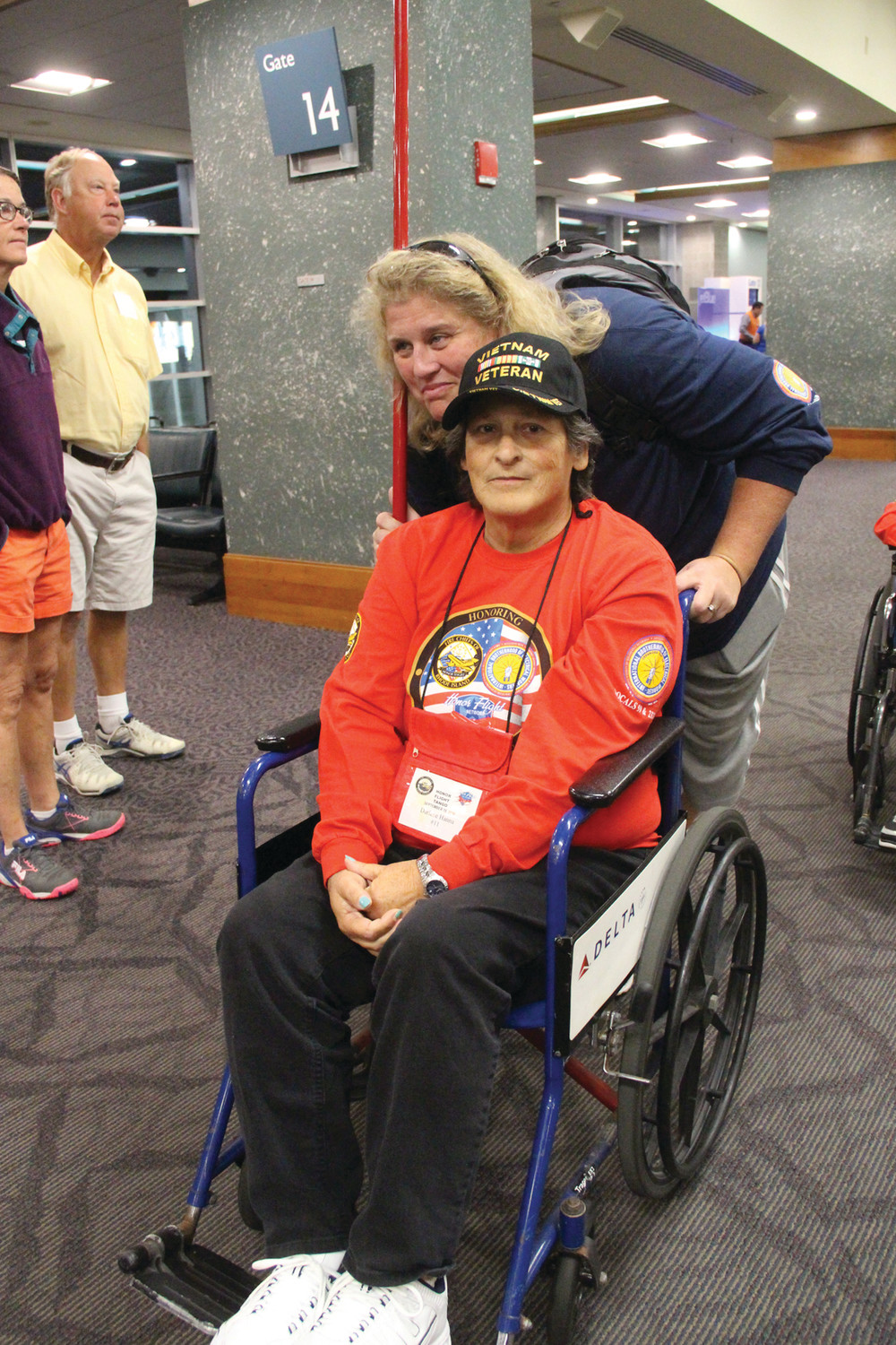 ON TO WASHINGTON: Vietnam veteran Darlene Hanna of Johnston was accompanied by Kimberly Wineman on Saturday's Honor Flight to the Nation's Capital.