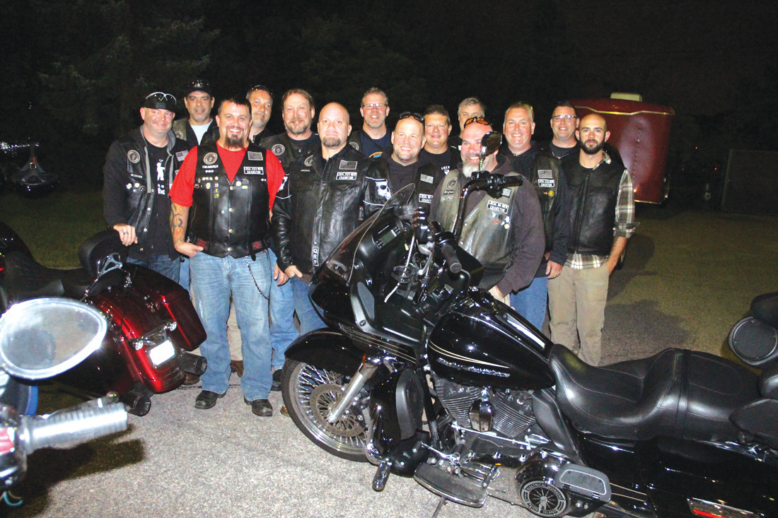 RIDING FOR OUR VETS: Members of IBEW Local 99 and Local 2323 riding club provided the motorcycle escort to the airport.