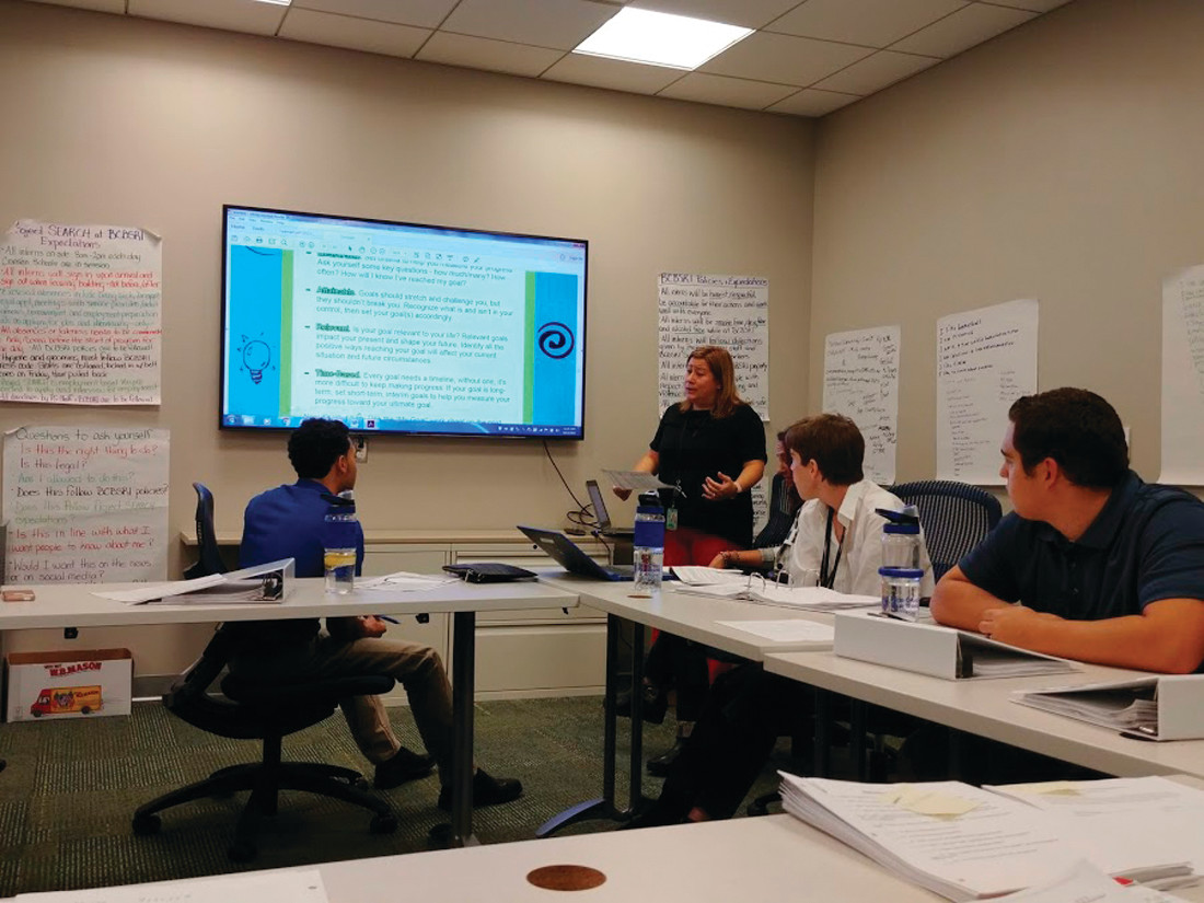 CLASS TIME: Kelly Starliper instructs the interns on how to fill out their own SMART goals graphic organizer during their classroom time at BCBSRI in Providence.