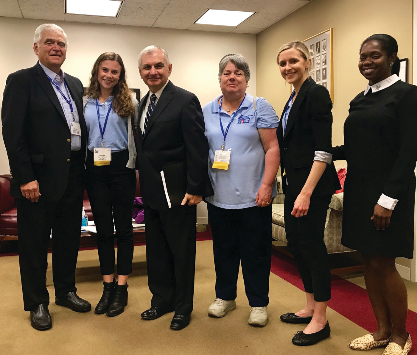 CHECKING IN: Ethel Ricci (to the right of Senator Reed) along with Cori Chandler, RI Grassroots Manager for ACSCAN, visited Washington D.C. to lobby for more funding to go towards cancer research from last Sunday to this past Wednesday.