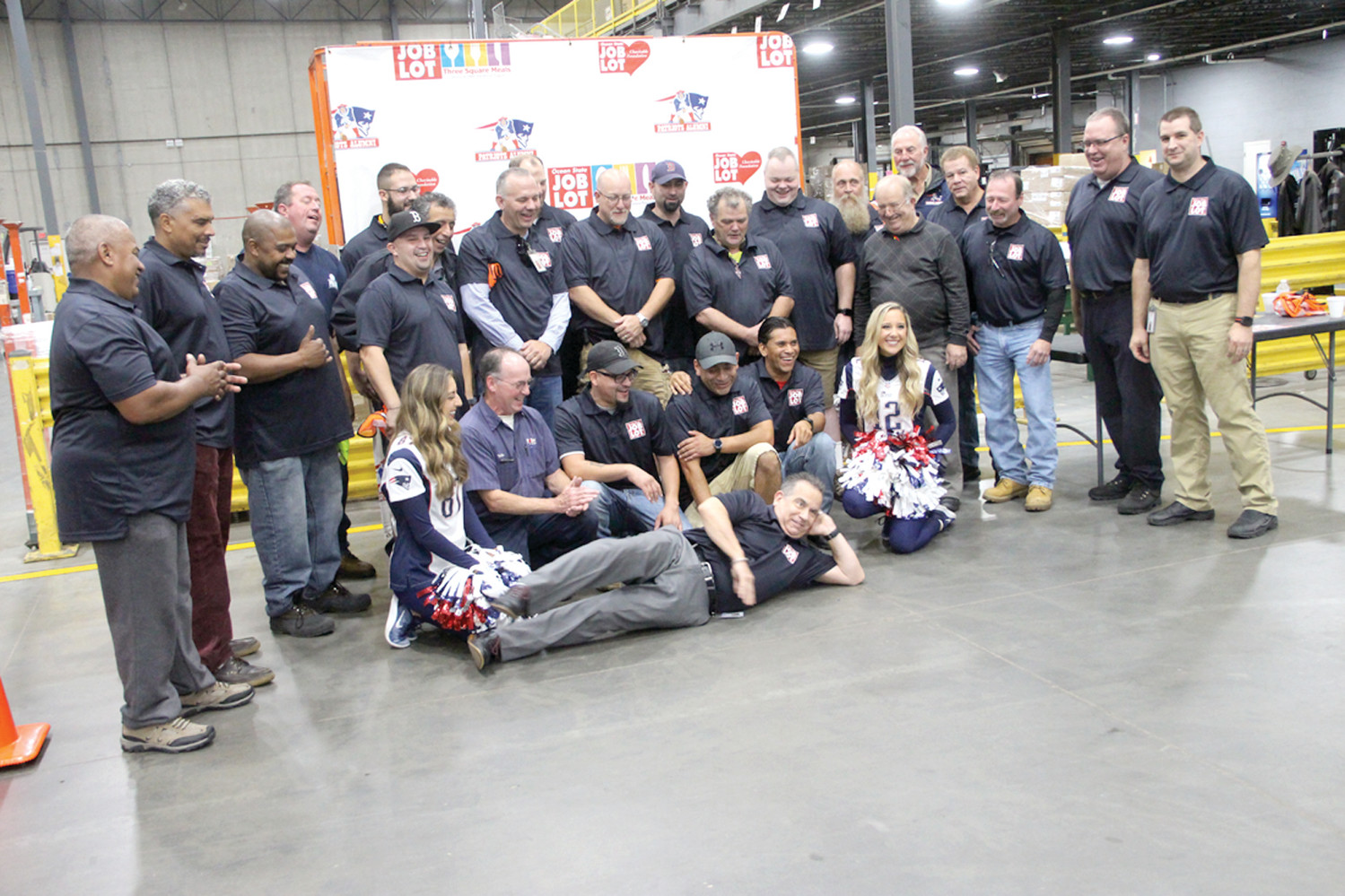 WAREHOUSE OF SUPPORT: Job Lot employees, vendors of the company and invited guests at the kickoff to the Three Square Meals program Wednesday.