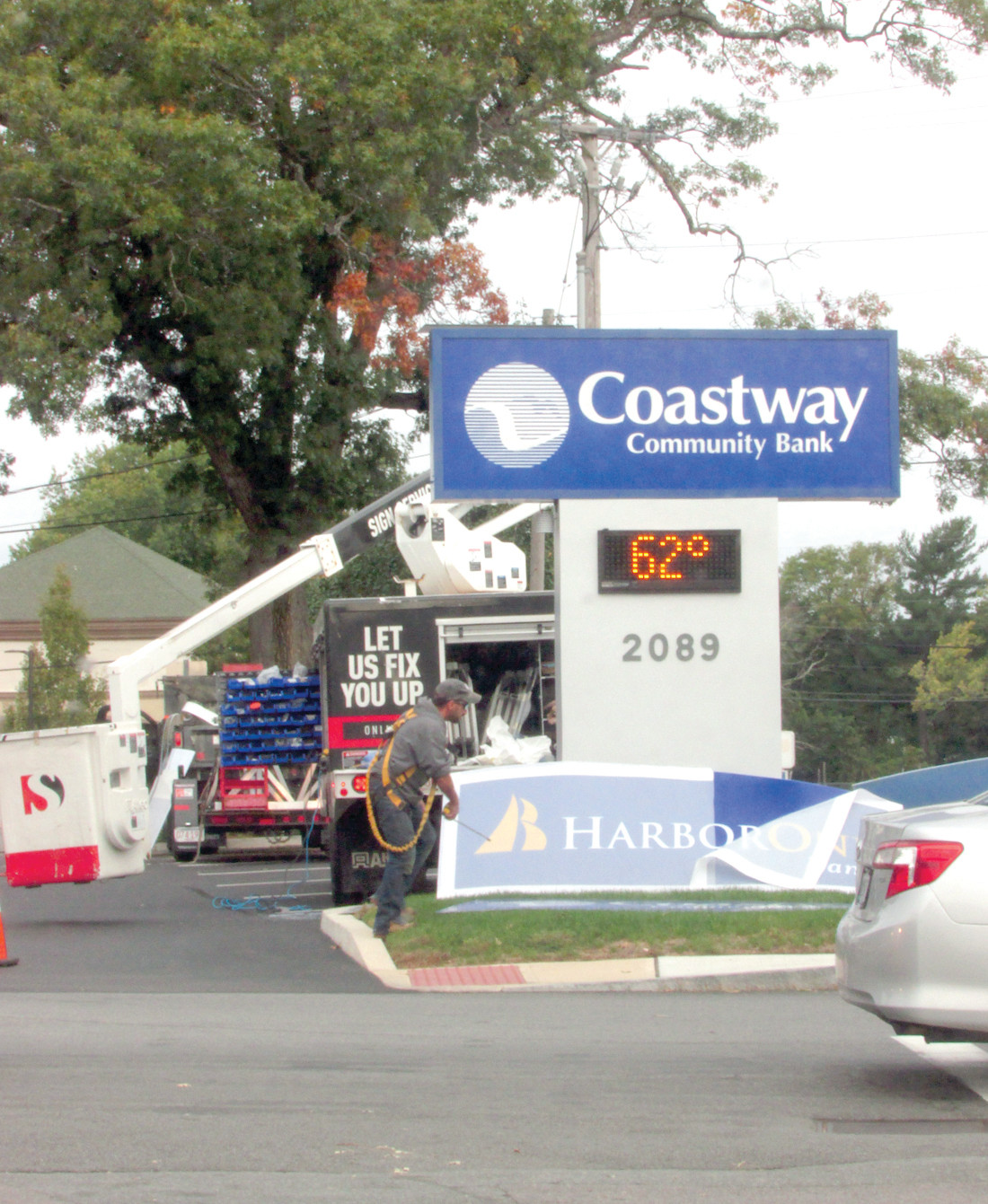 A LOT OF CHANGES: The Coastway Community Bank signs came down at branches across the state over the weekend as the HarborOne deal to buy the bank was finalized. While the name, debit cards and online banking changes, personnel at the branches remain the same. Pictured is the Warwick Avenue branch at the intersection of Church Avenue.